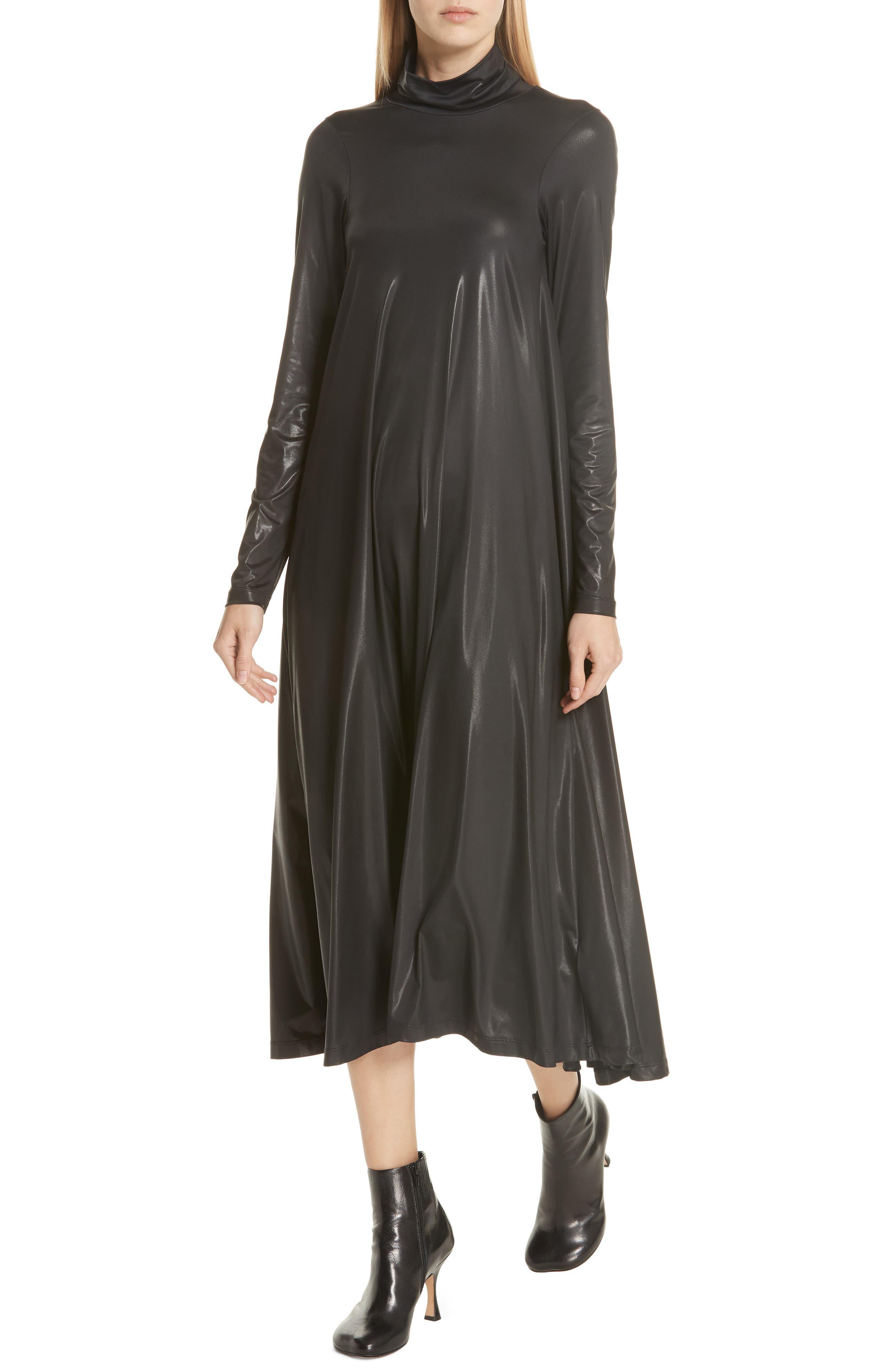 Coated Turtleneck Dress,                             Alternate thumbnail 4, color,                             BLACK