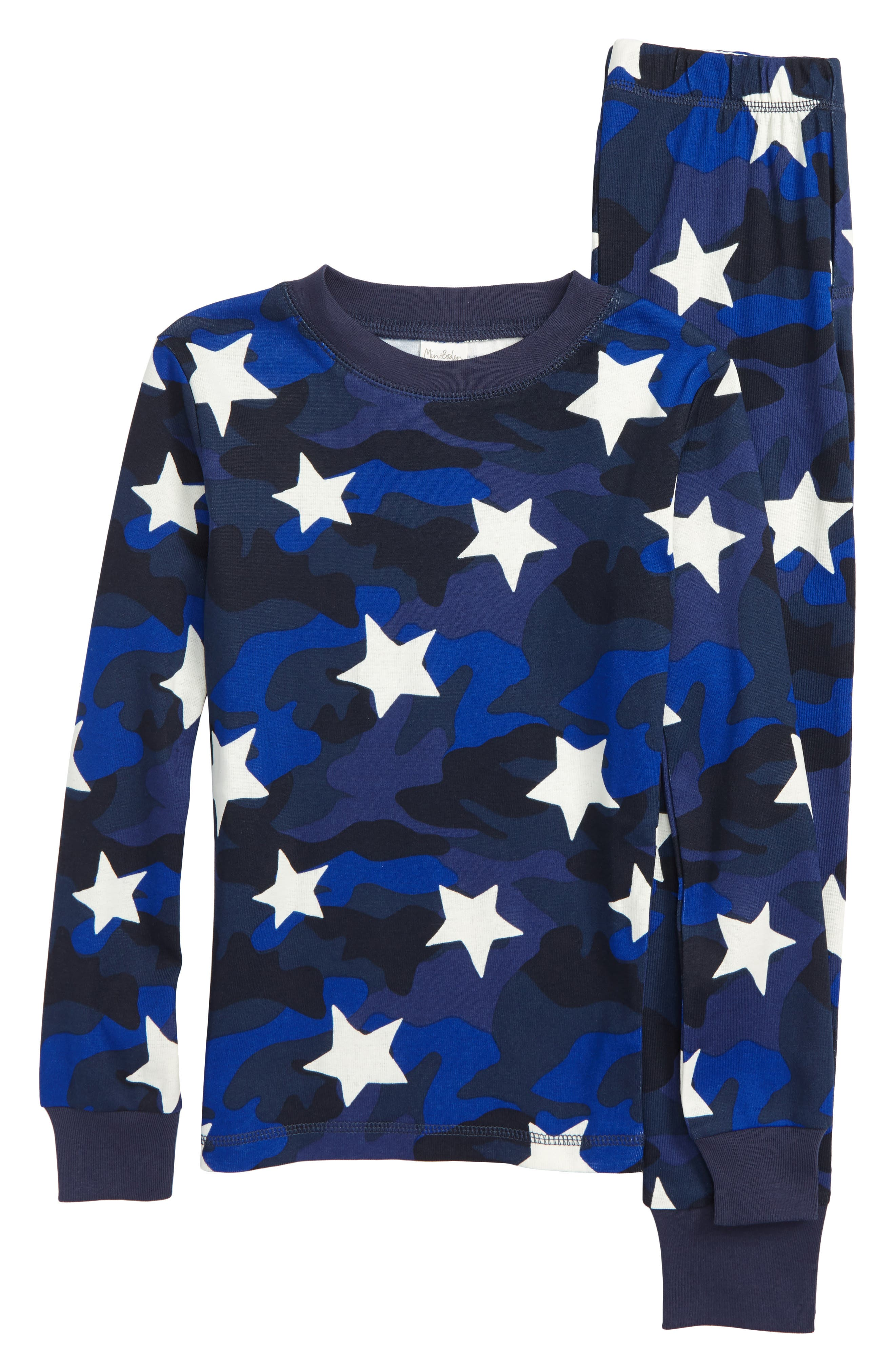 Glow-in-the-Dark Fitted Two-Piece Pajamas,                         Main,                         color, NAVY CAMOUFLAGE STAR