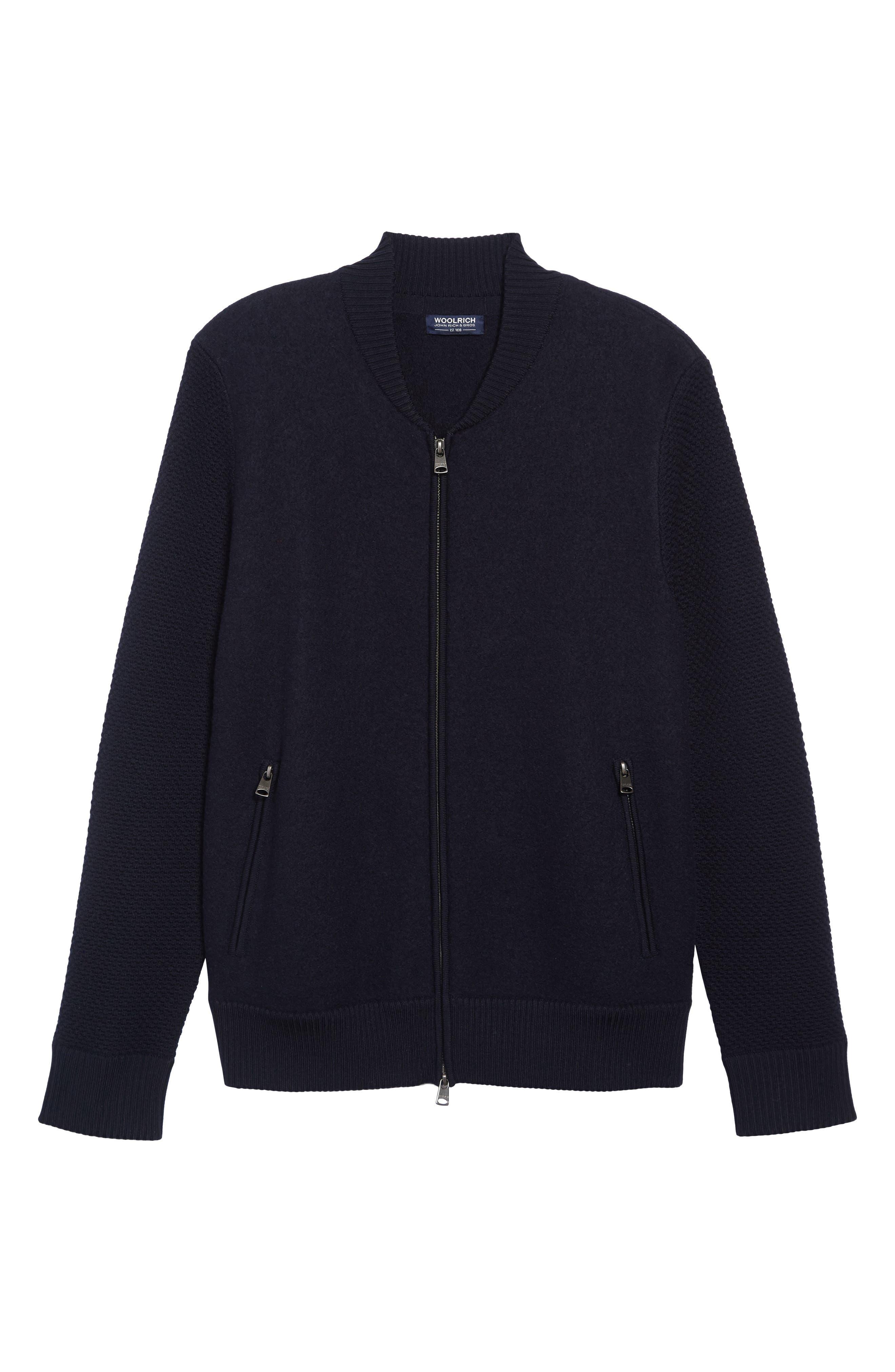 Felted Wool Bomber Jacket,                             Alternate thumbnail 5, color,                             BLUE GRAPHITE