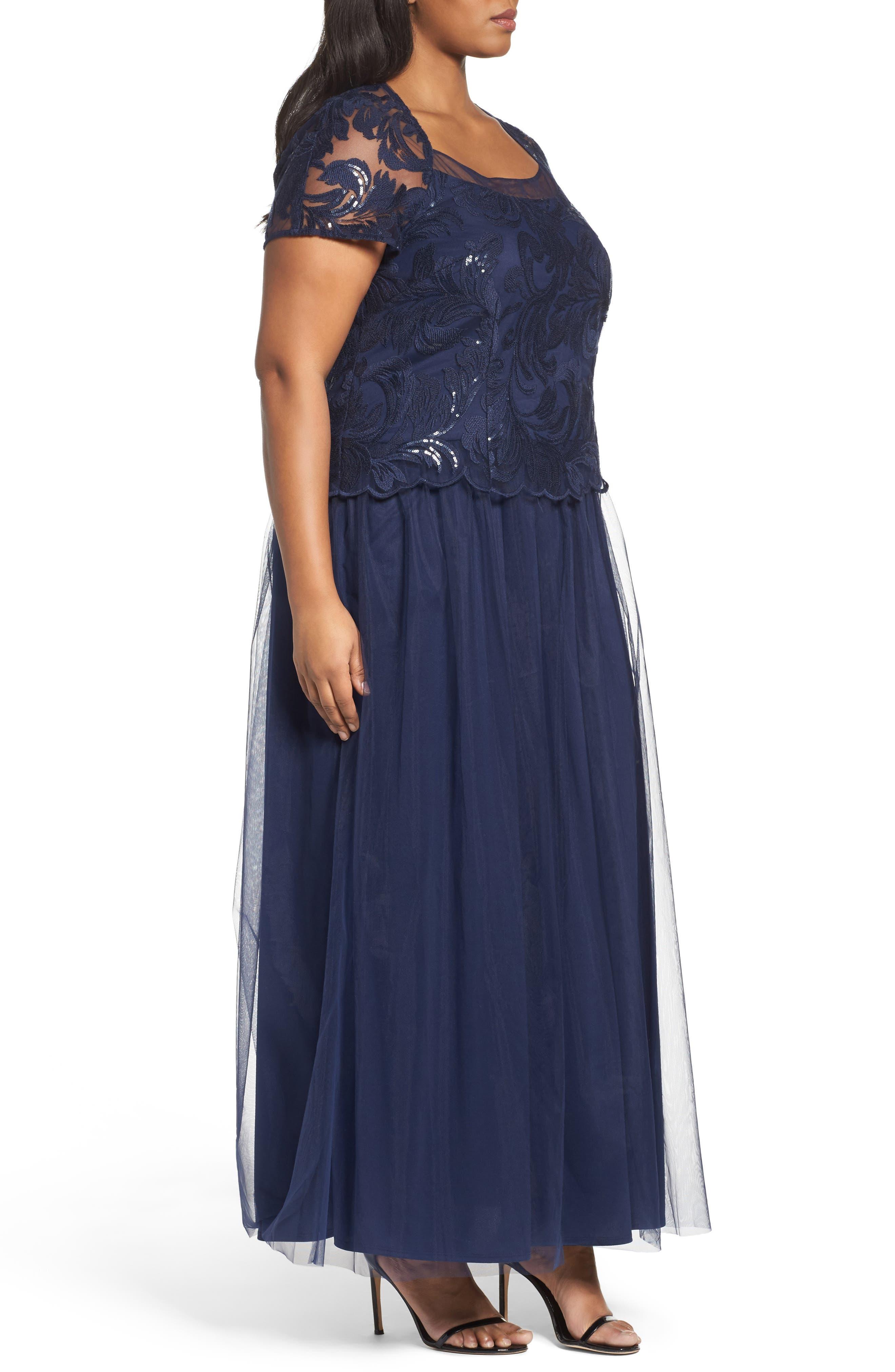 Sequin Bodice Gown,                             Alternate thumbnail 3, color,                             410