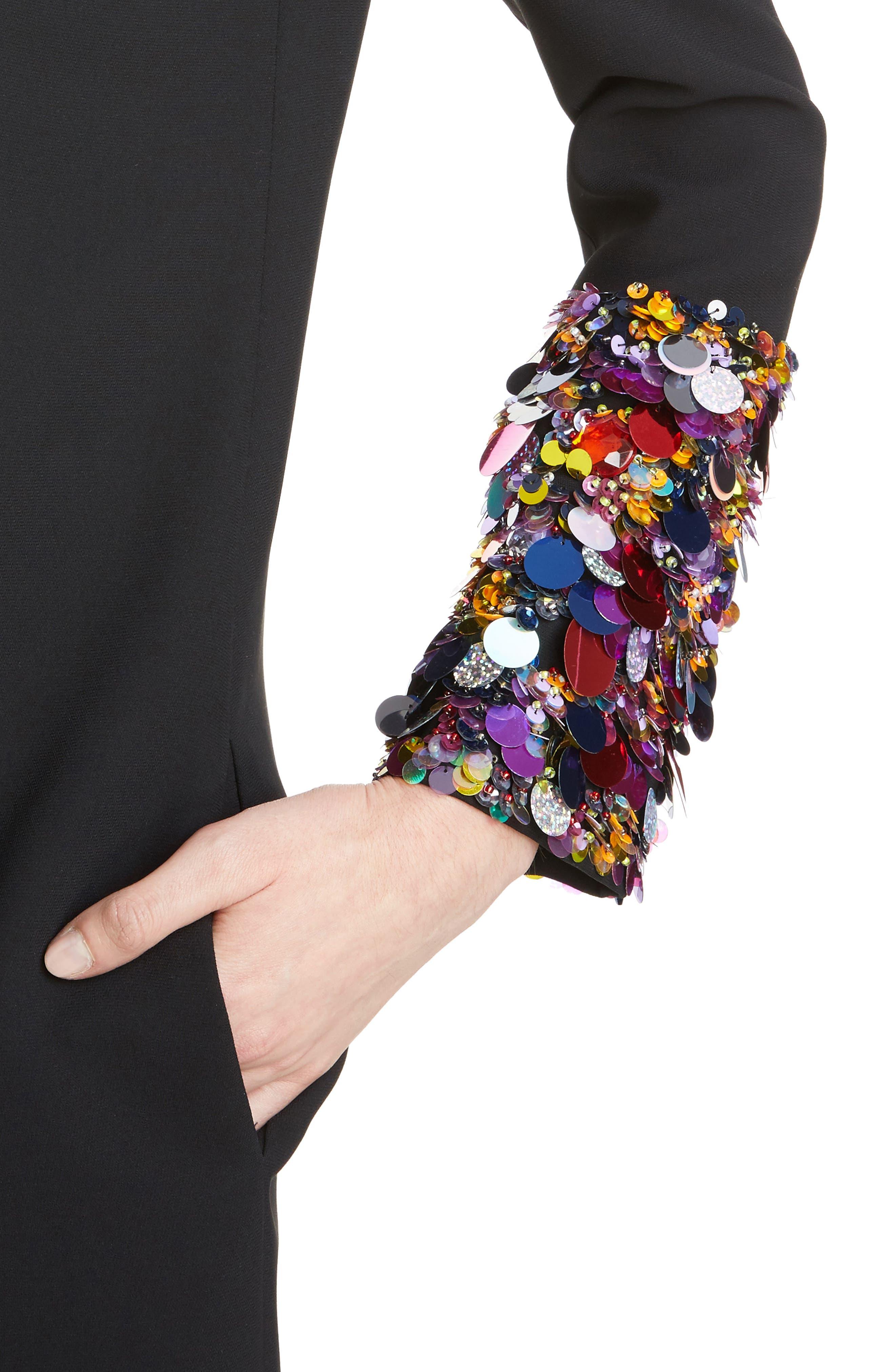 Embellished Cuff Shift Dress,                             Alternate thumbnail 4, color,                             001