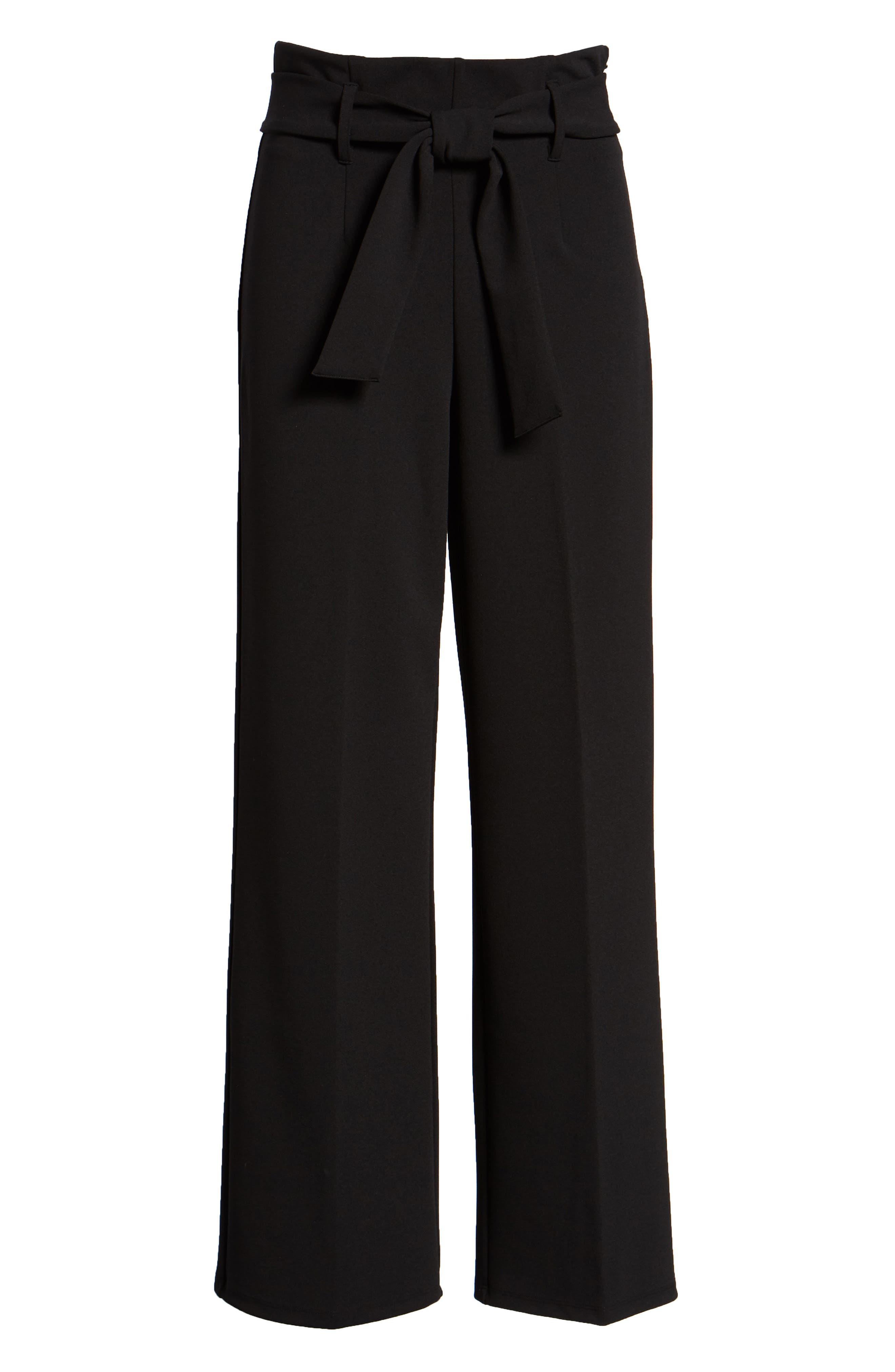 High Waist Belted Pants,                             Alternate thumbnail 7, color,                             BLACK