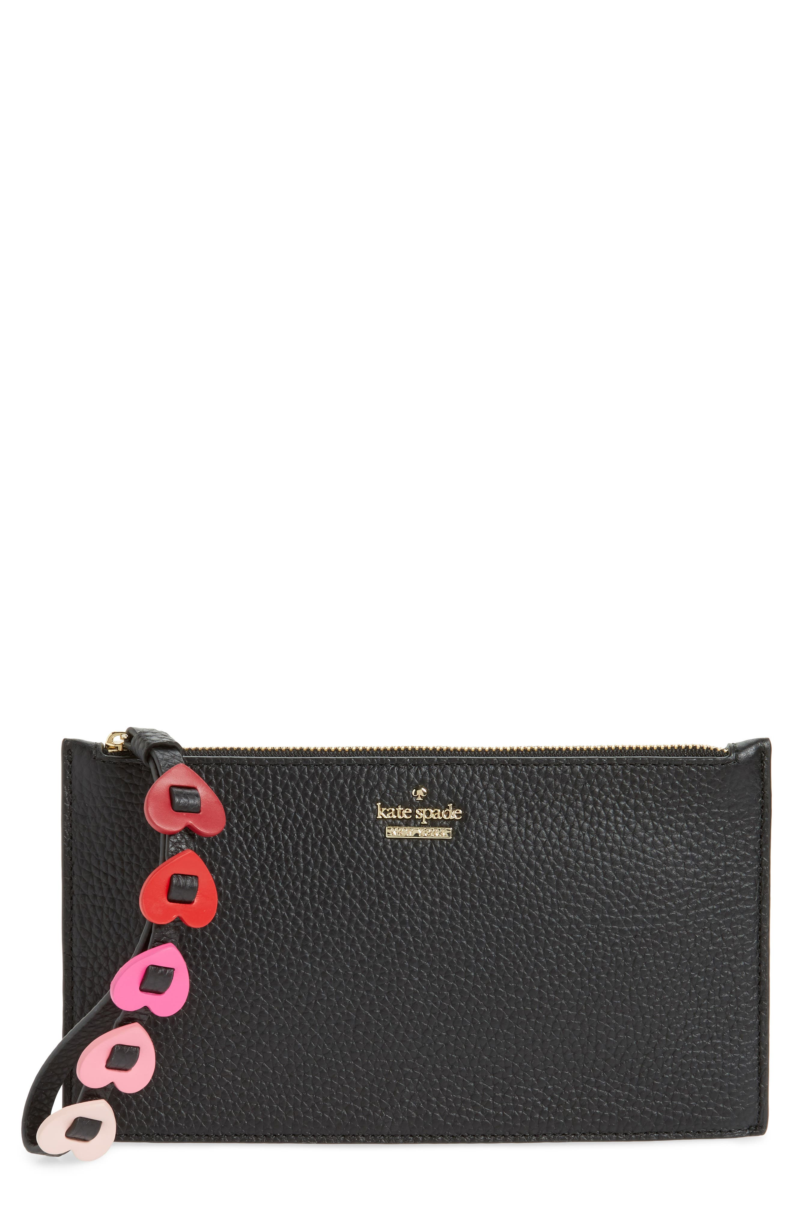 yours truly ariah leather wristlet,                         Main,                         color, 001