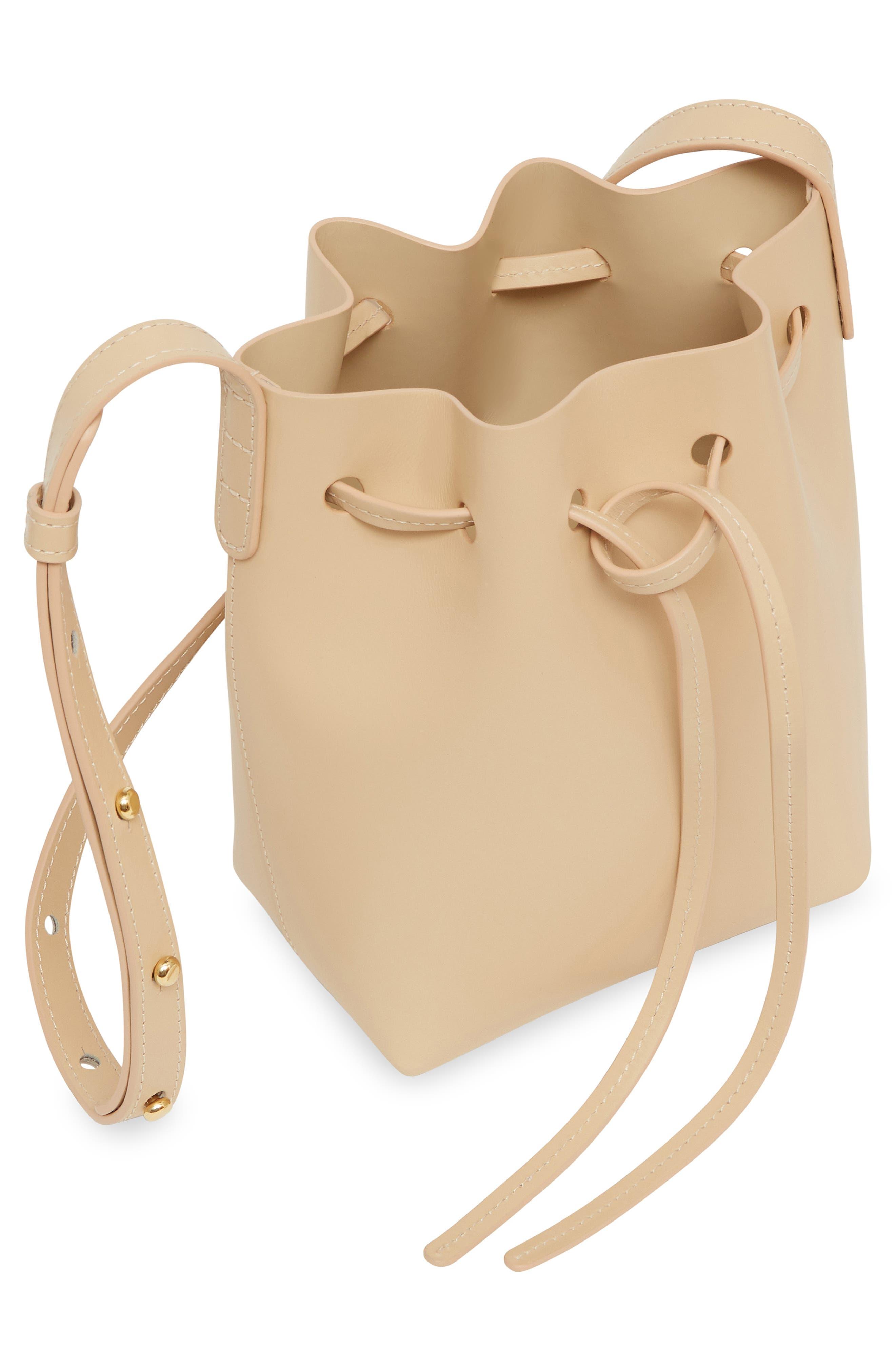 Mini Mini Leather Bucket Bag,                             Alternate thumbnail 2, color,                             NATURAL