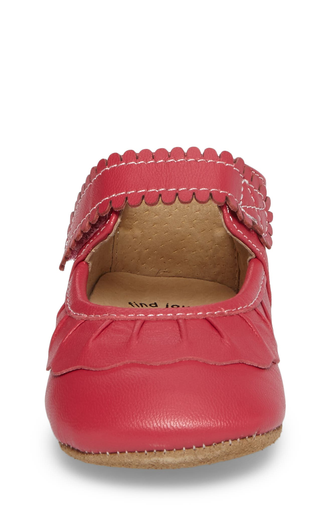 'Ruche' Mary Jane Crib Shoe,                             Alternate thumbnail 4, color,                             HOT PINK LEATHER