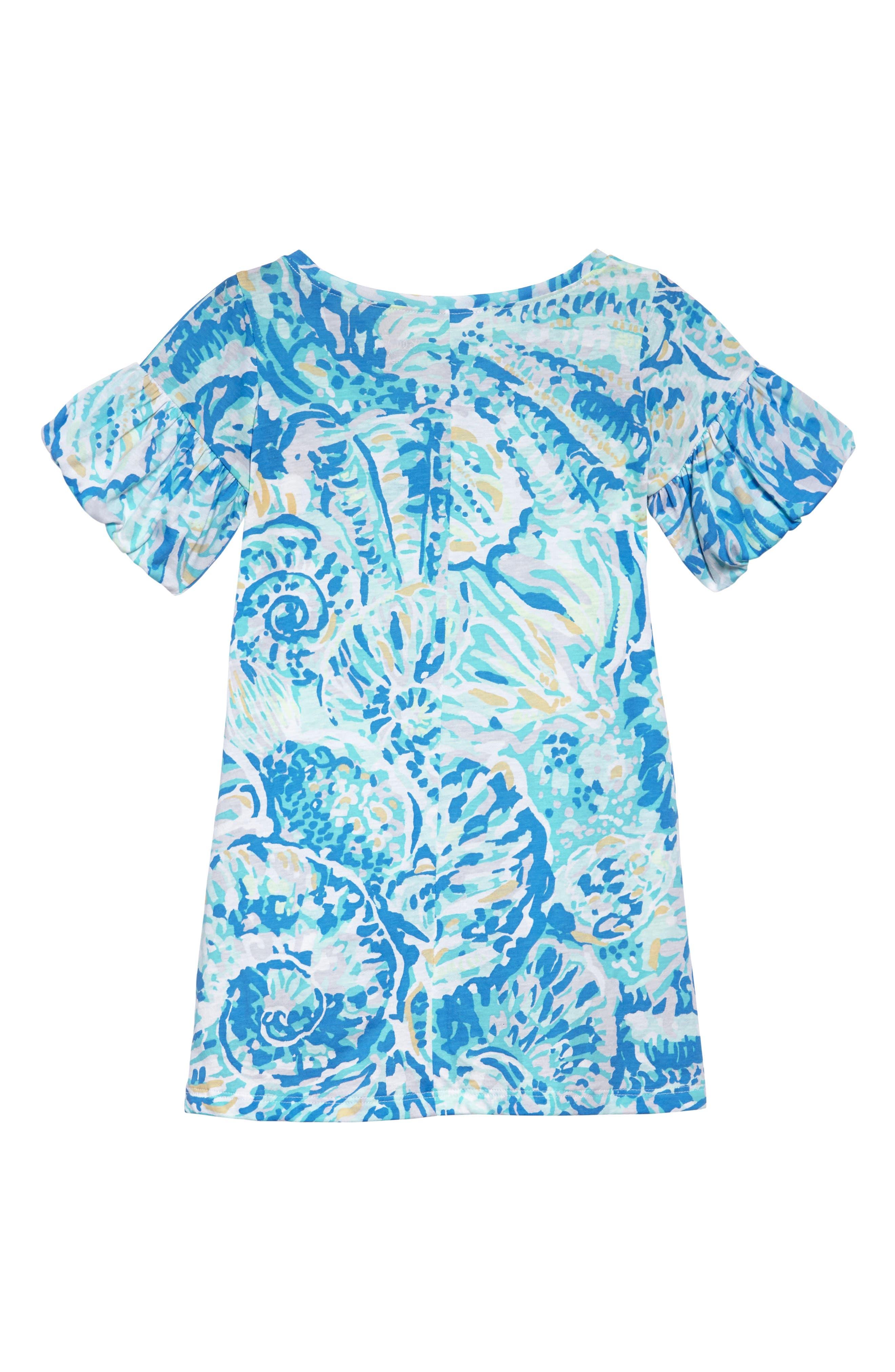 Mini Lindell Ruffle Dress,                             Alternate thumbnail 2, color,                             BENNET BLUE SALTY SEAS
