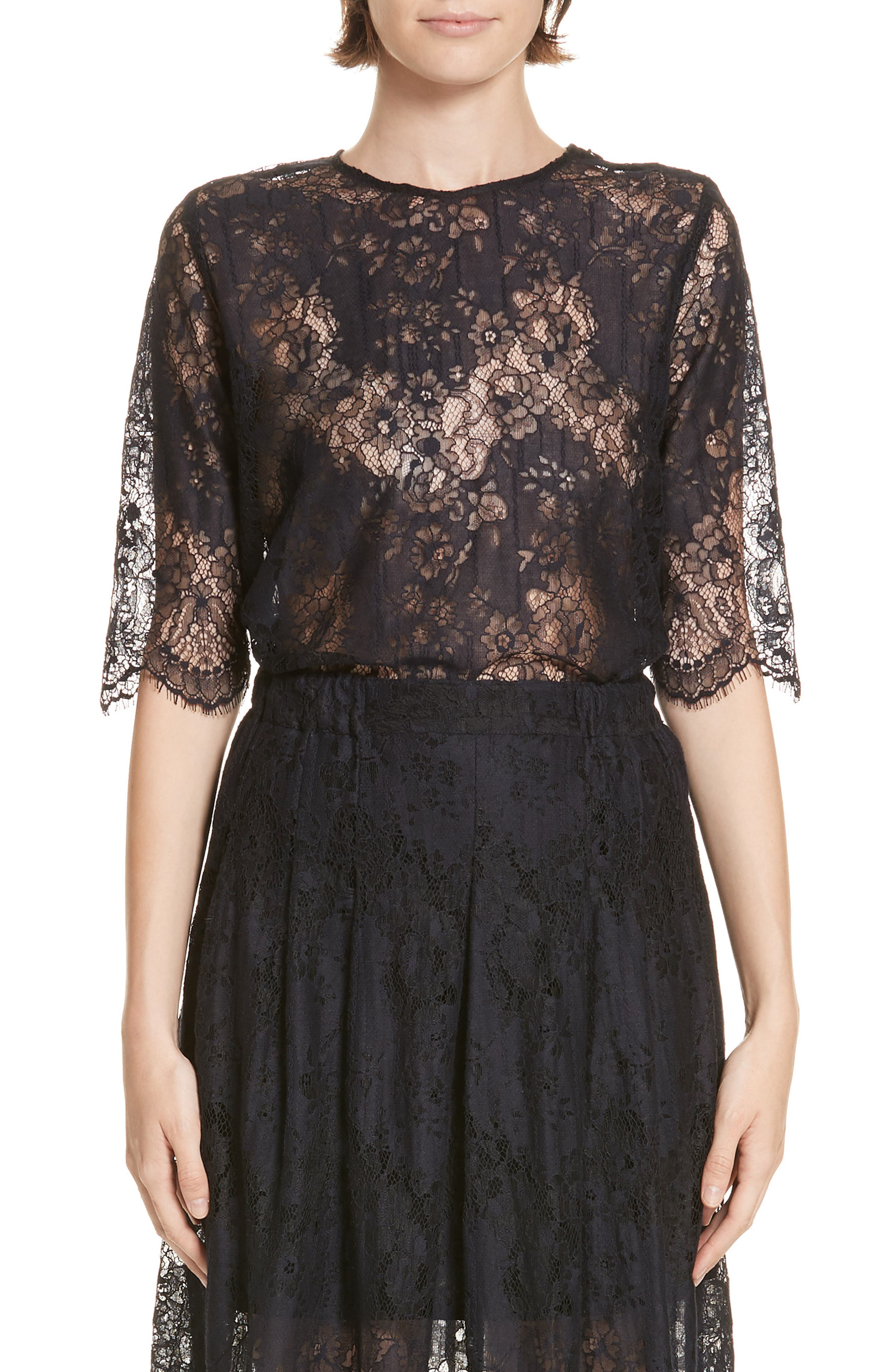 ROSEANNA Martial Lace Top in Marine
