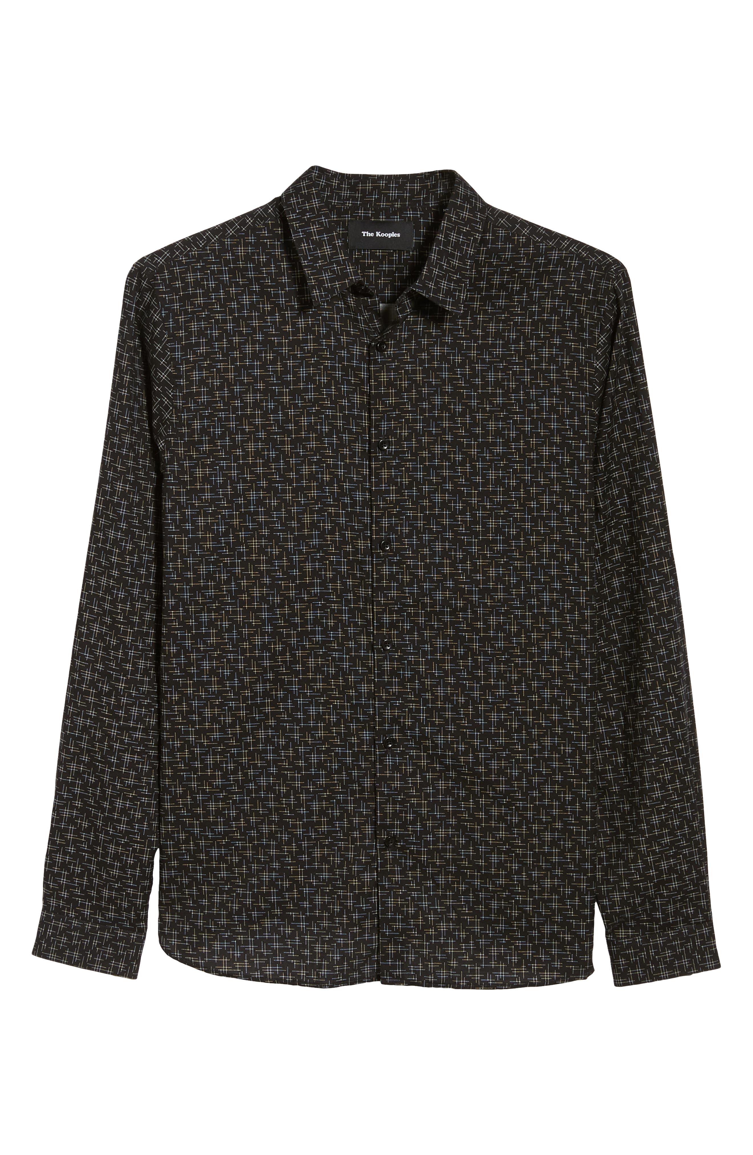 Slim Fit Print Shirt,                             Alternate thumbnail 5, color,                             BLACK/ GREY