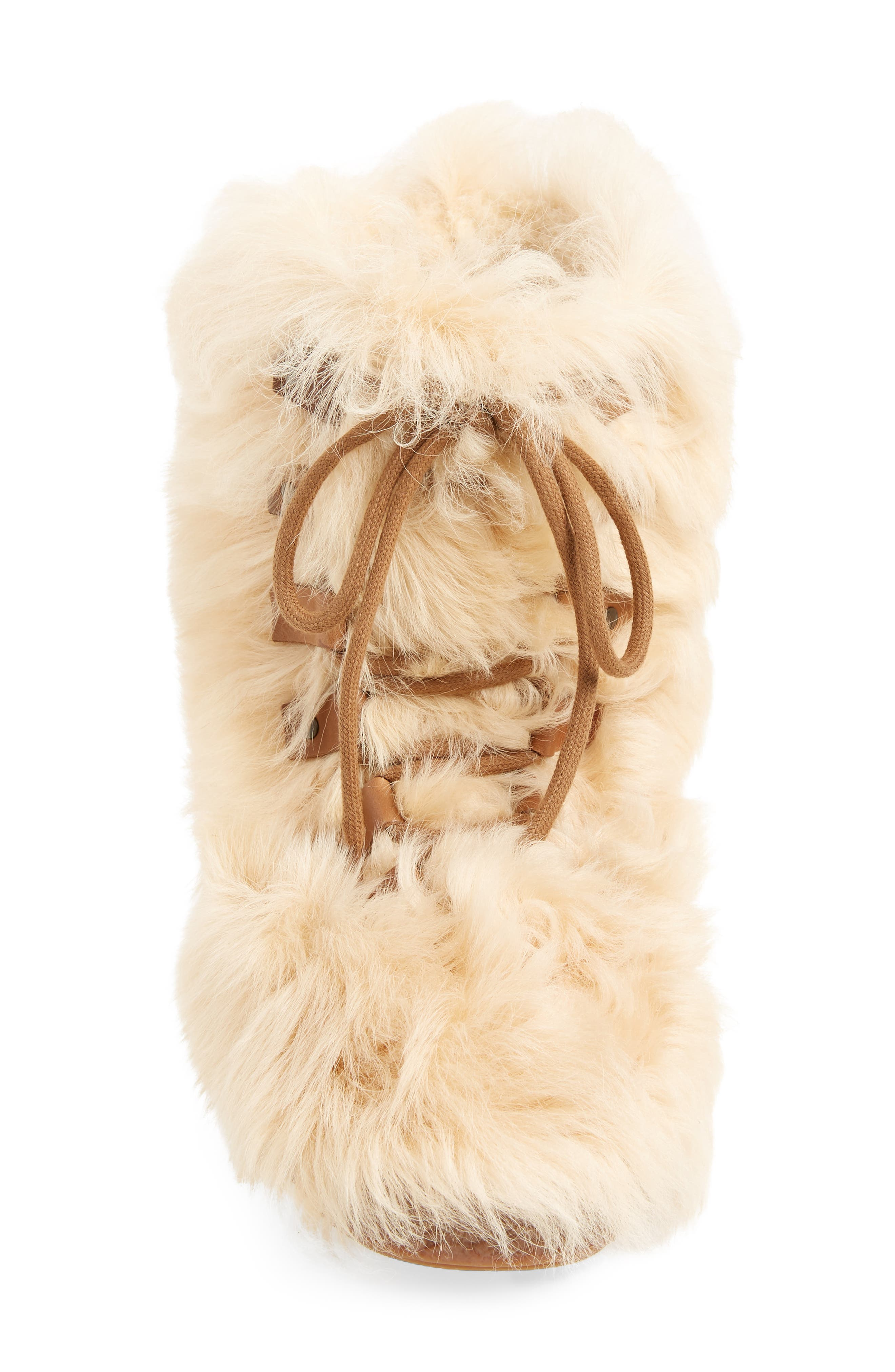 Furry Genuine Shearling Boot,                             Alternate thumbnail 4, color,                             278