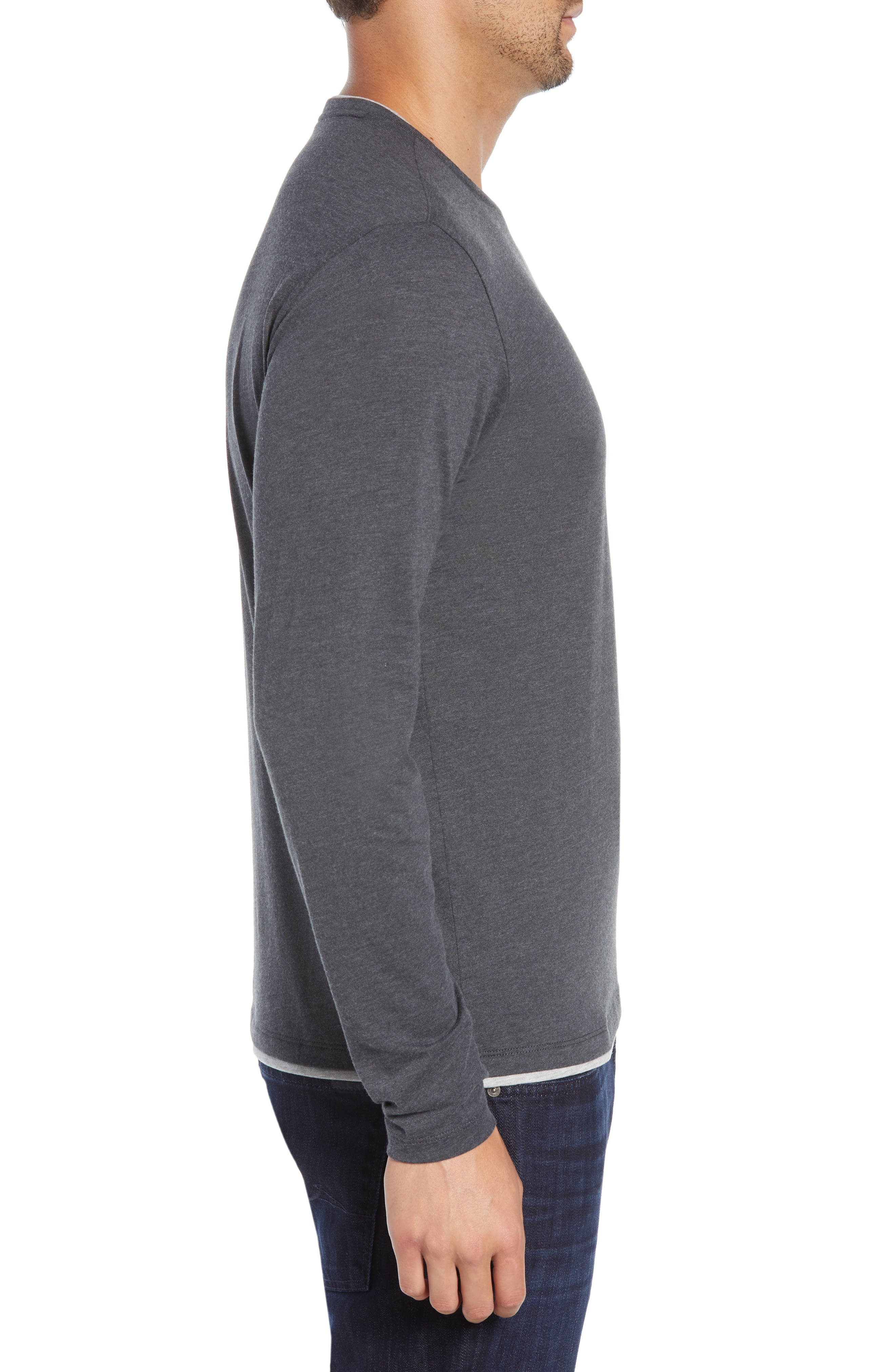 Halifax Long Sleeve Crewneck T-Shirt,                             Alternate thumbnail 3, color,                             TITANIUM
