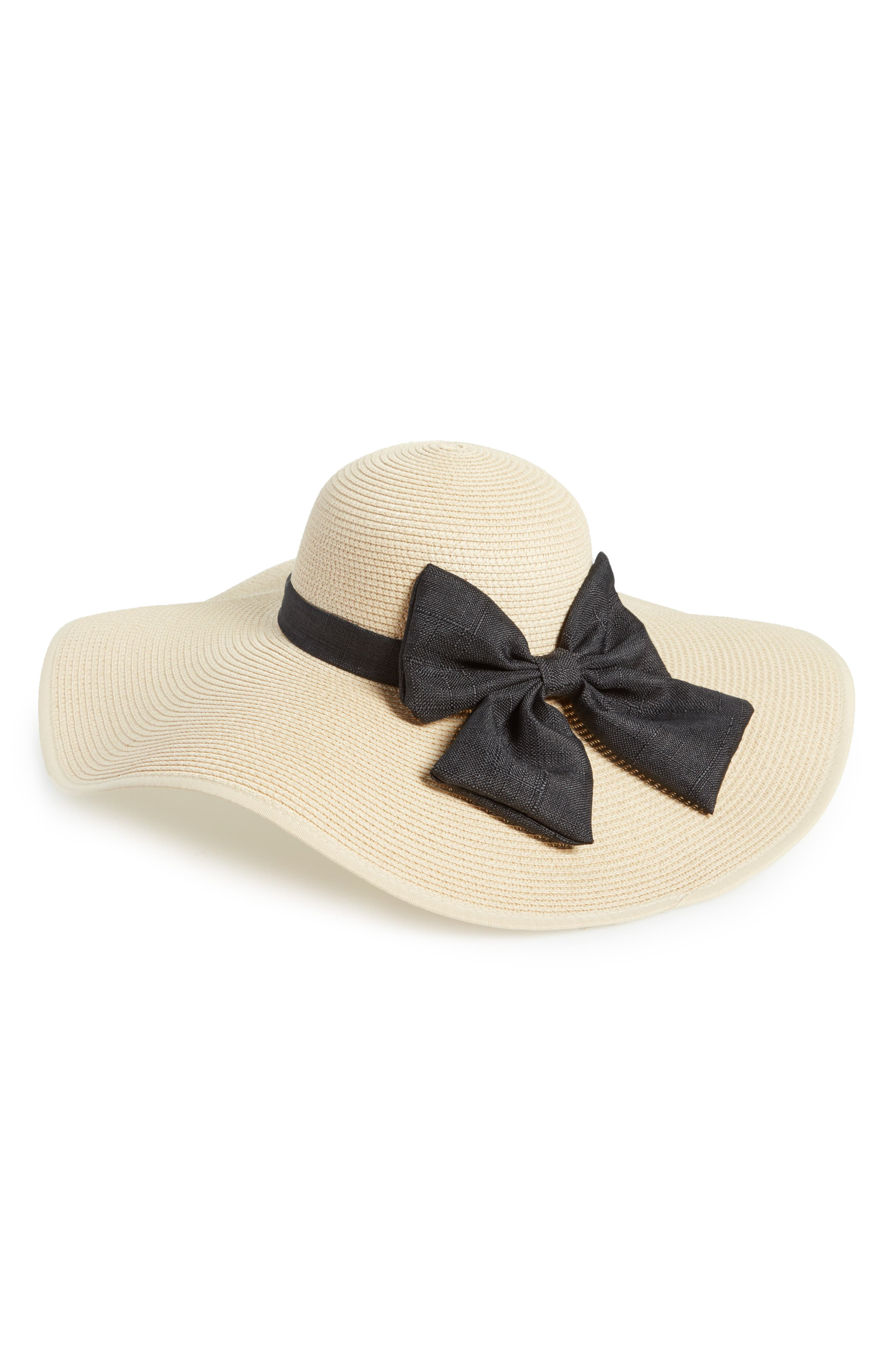 Oversize Bow Floppy Straw Hat,                             Main thumbnail 1, color,                             250