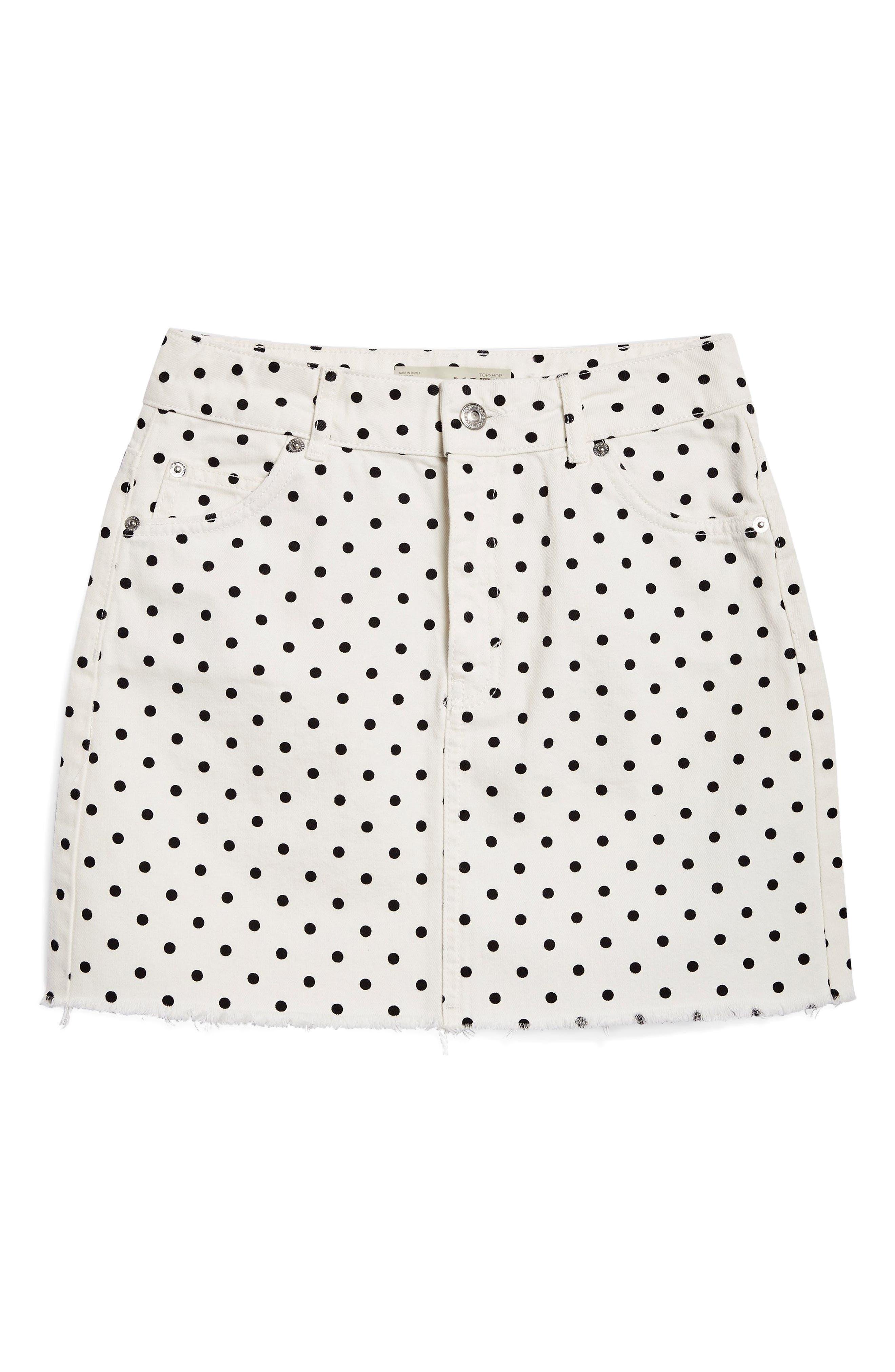 MOTO High Waist Denim Skirt,                             Alternate thumbnail 3, color,                             100