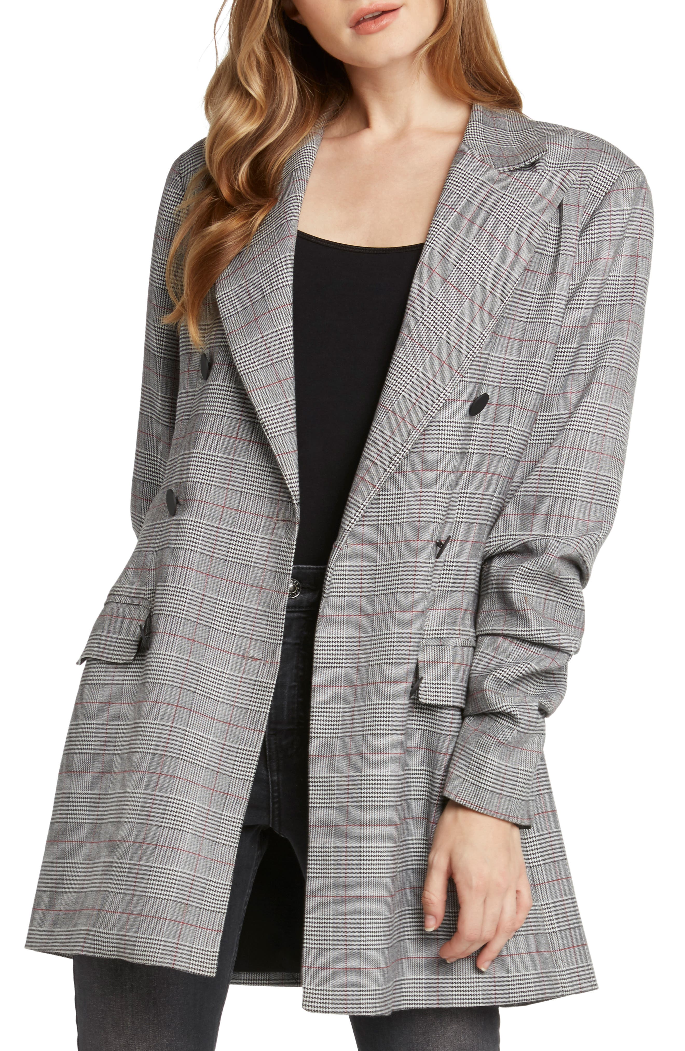 Double Breasted Plaid Jacket,                             Main thumbnail 1, color,                             BLACK
