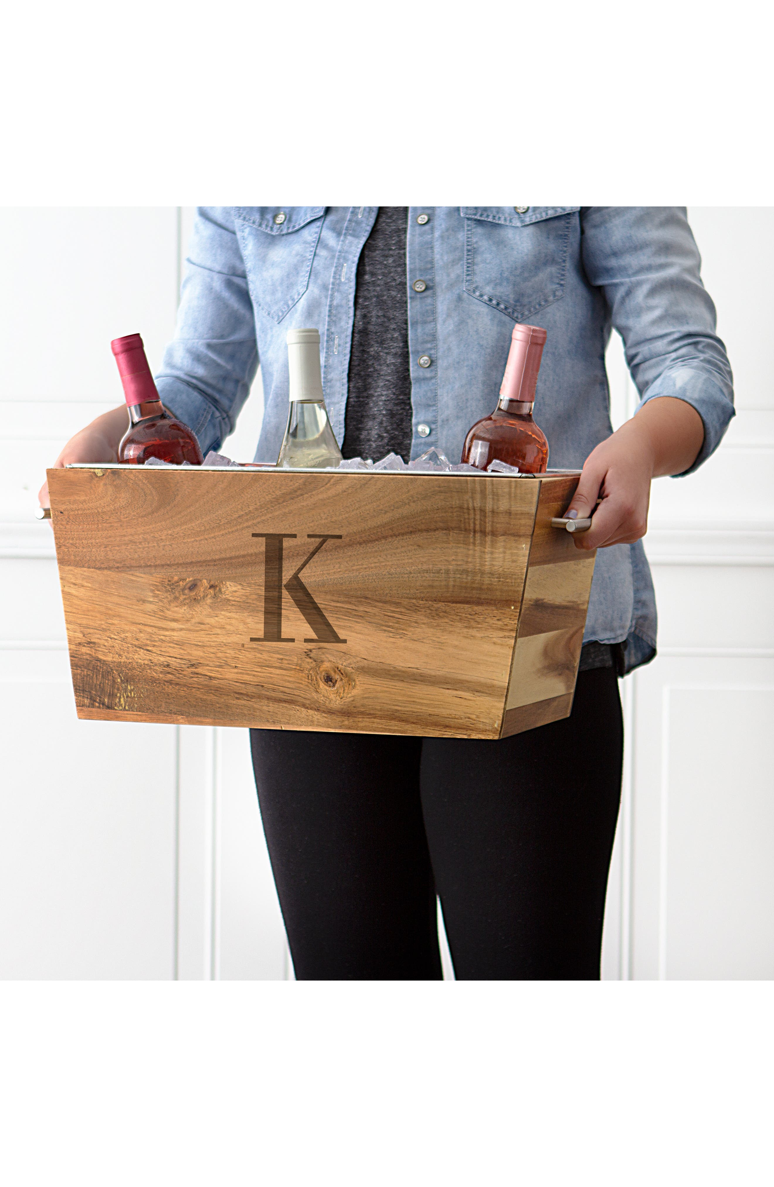 Monogram Wood Beverage Trough,                             Alternate thumbnail 3, color,                             200