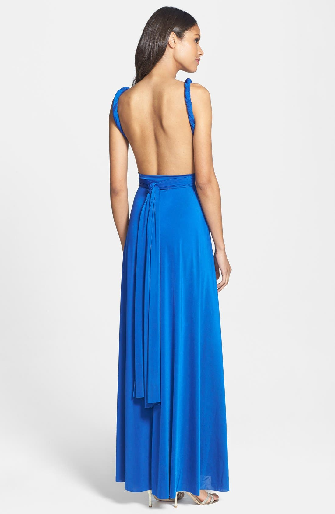 Convertible Wrap Tie Surplice Jersey Gown,                             Alternate thumbnail 38, color,