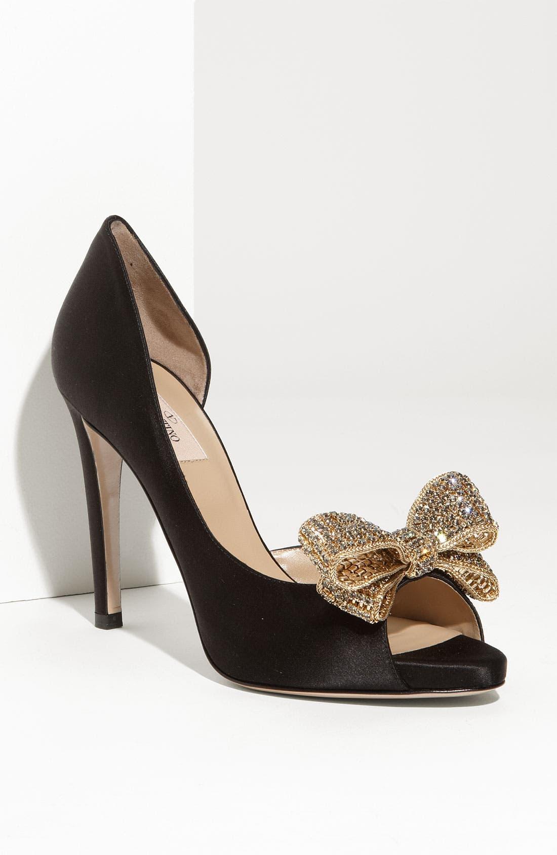 VALENTINO GARAVANI Jewelry Couture Bow d'Orsay Pump, Main, color, 001