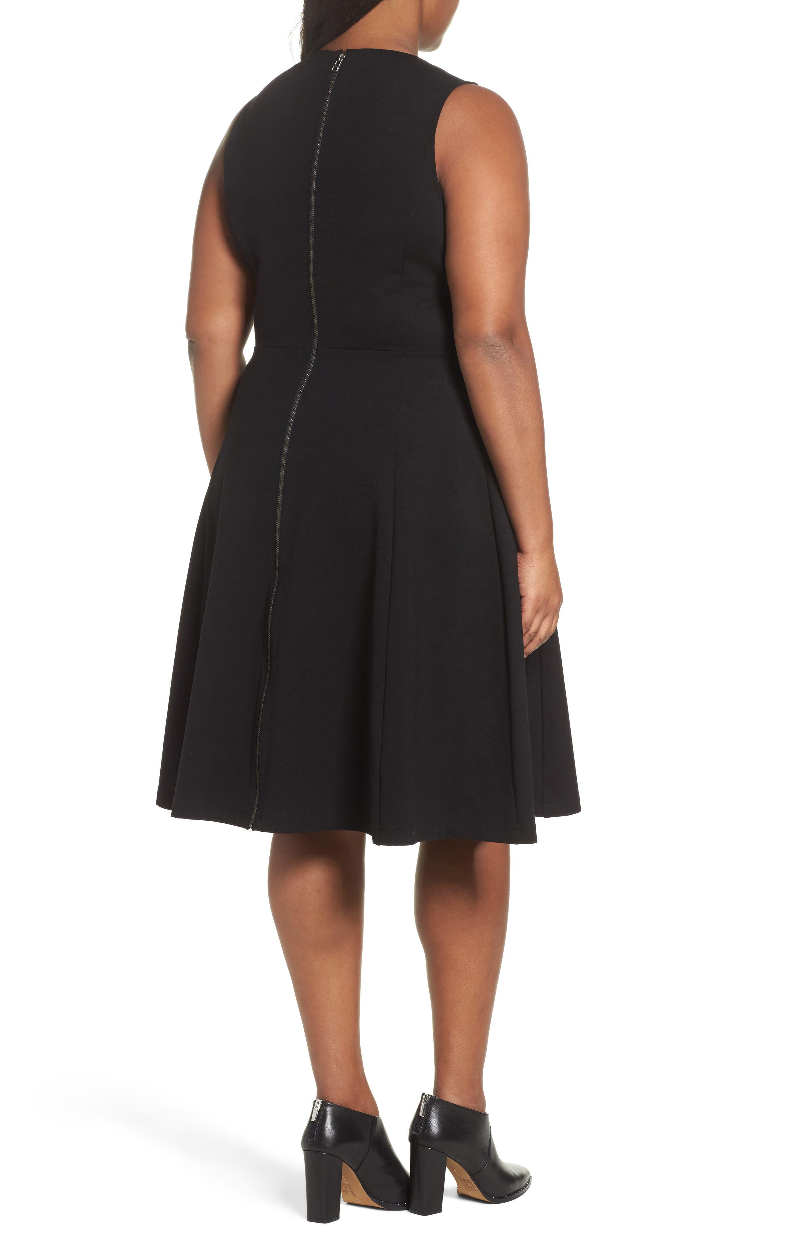 V-Neck Ponte Fit & Flare Dress,                             Alternate thumbnail 2, color,                             BLACK