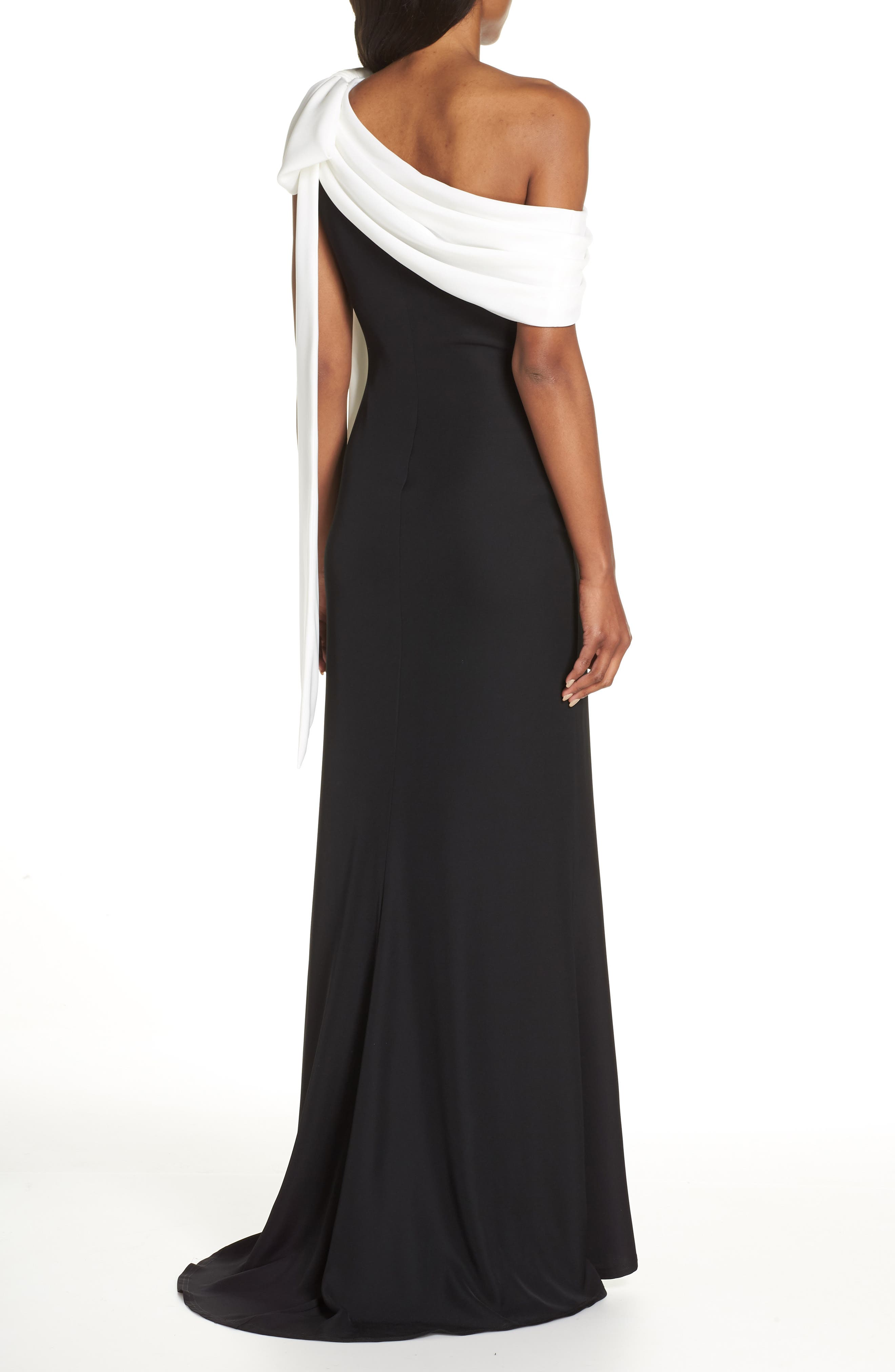 Crepe Gown,                             Alternate thumbnail 2, color,                             BLACK/ WHITE