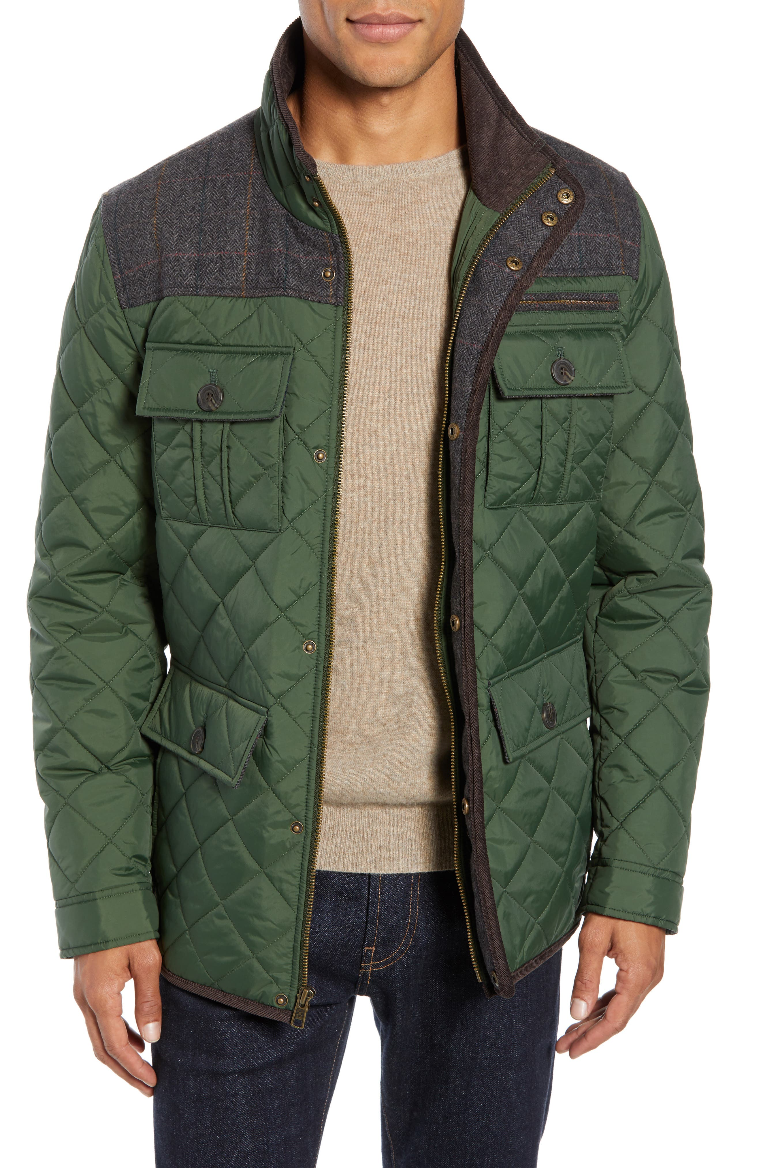 Diamond Quilted Full Zip Jacket,                         Main,                         color, OLIVE