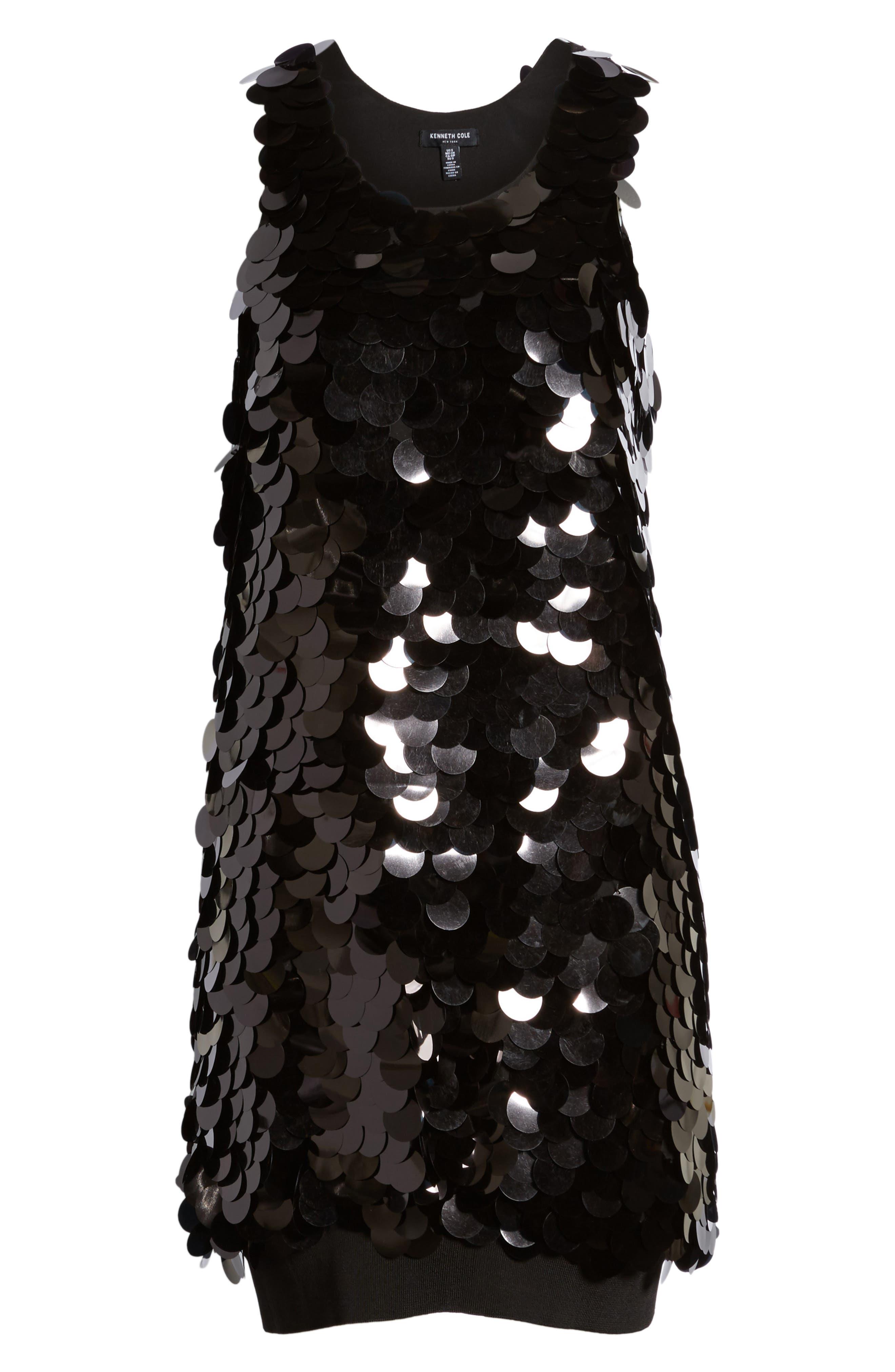 Paillette Swing Dress,                             Alternate thumbnail 6, color,                             001