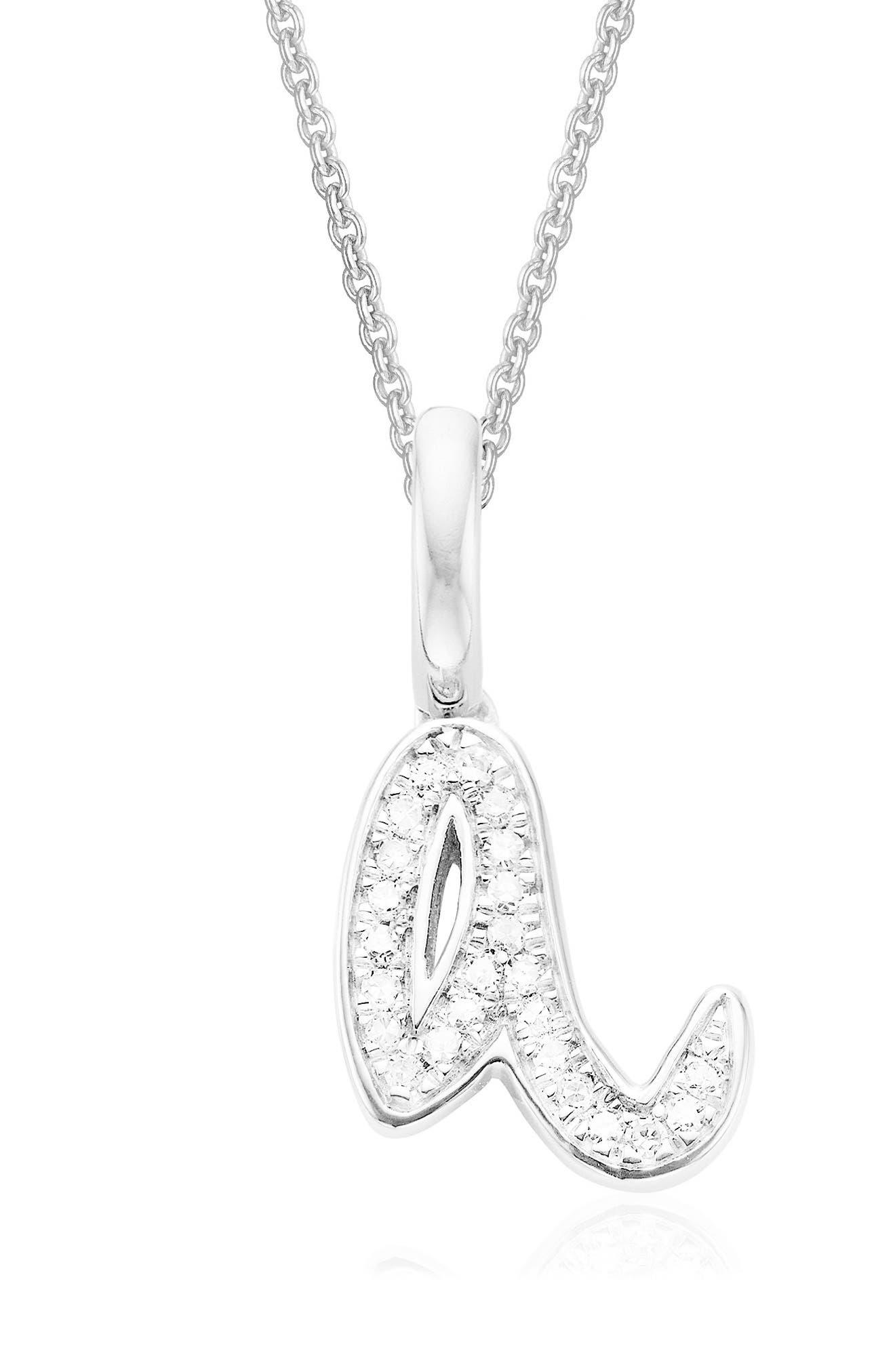 Alphabet Diamond Pavé Pendant Charm,                         Main,                         color, Silver/ Diamond- A