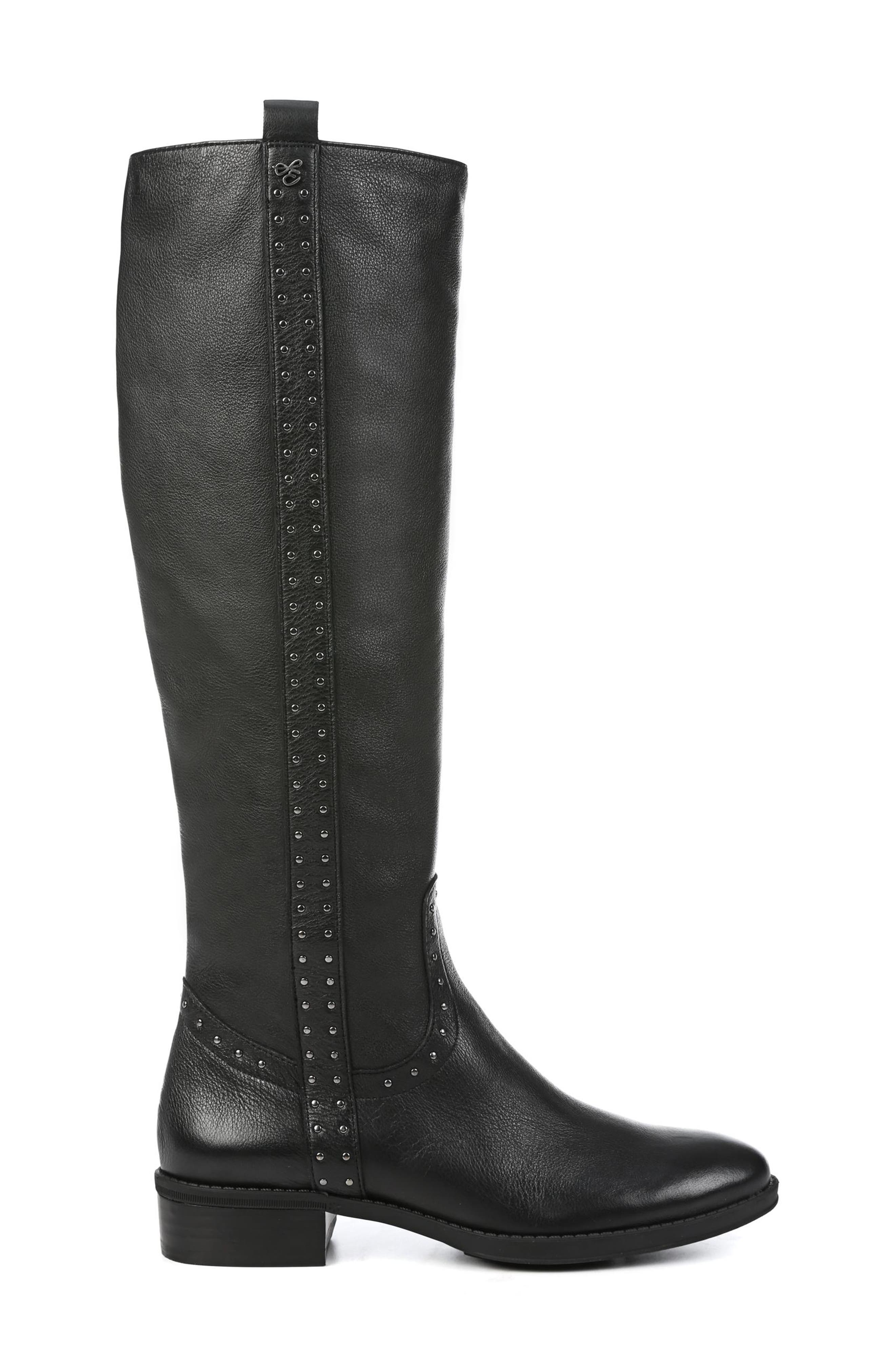 Prina Riding Boot,                             Alternate thumbnail 3, color,                             BLACK LEATHER