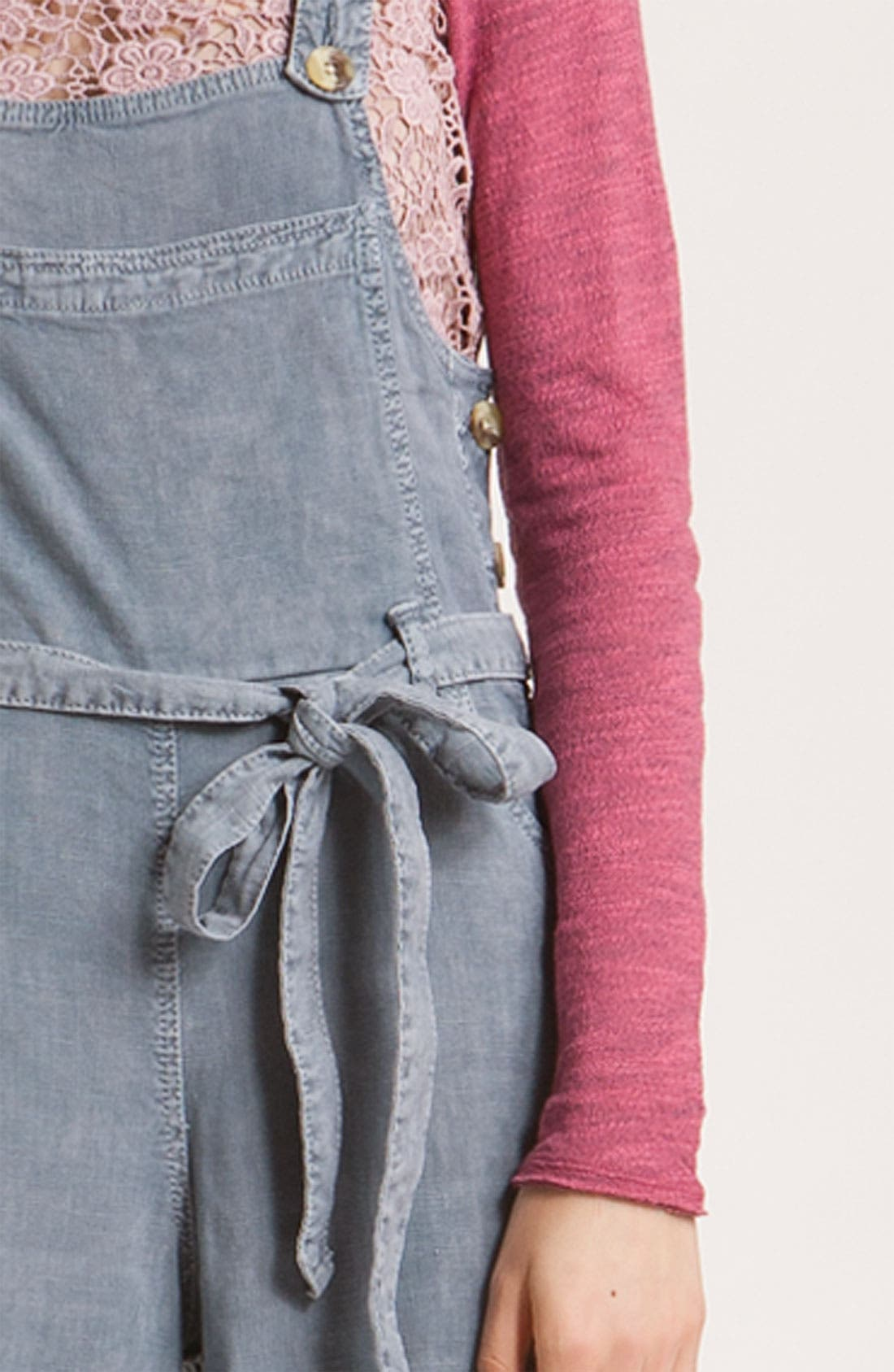 FREE PEOPLE,                             Linen Chambray Gaucho Overalls,                             Alternate thumbnail 2, color,                             425