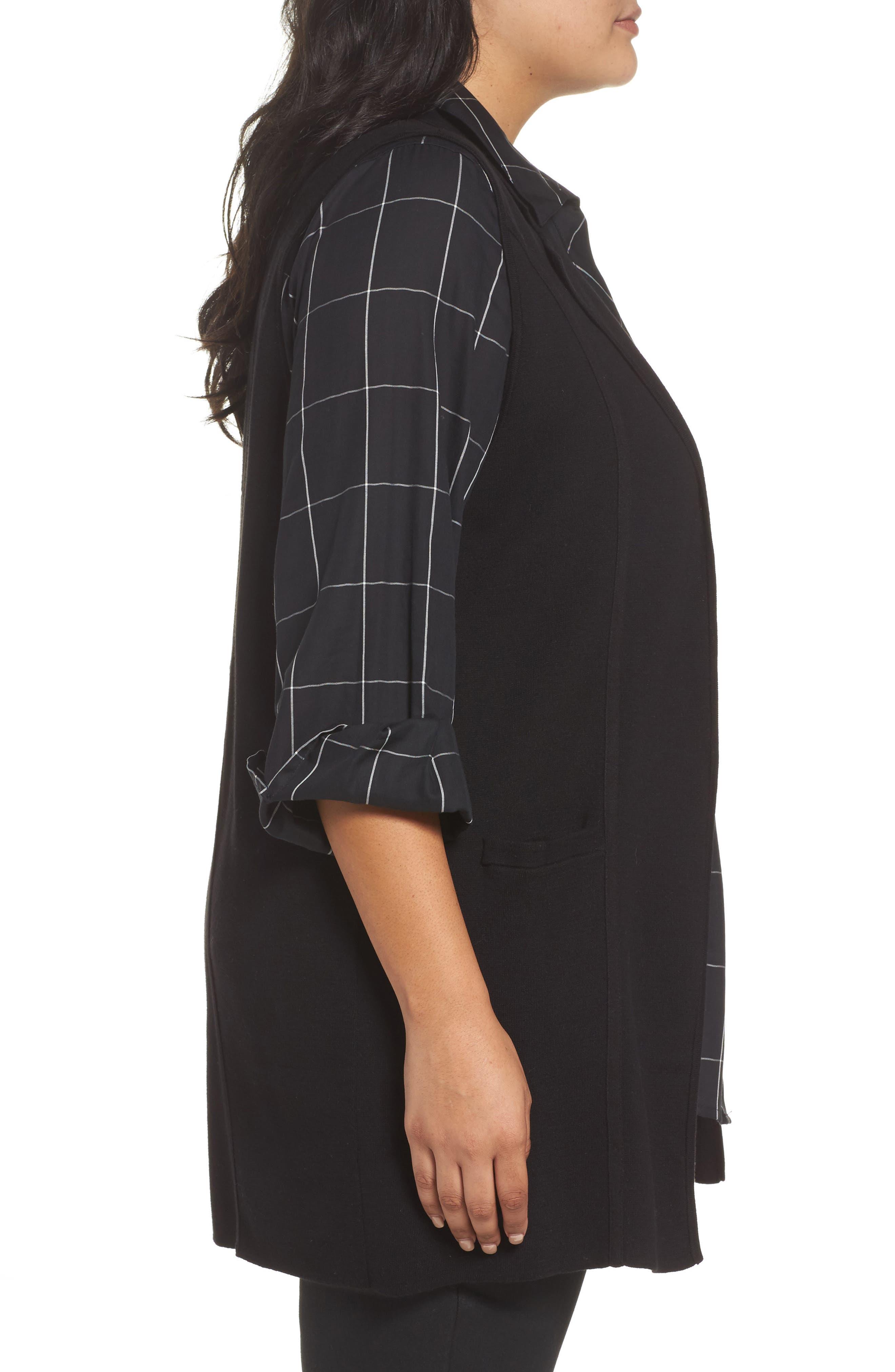 Jodi Longline Sweater Vest,                             Alternate thumbnail 3, color,                             BLACK