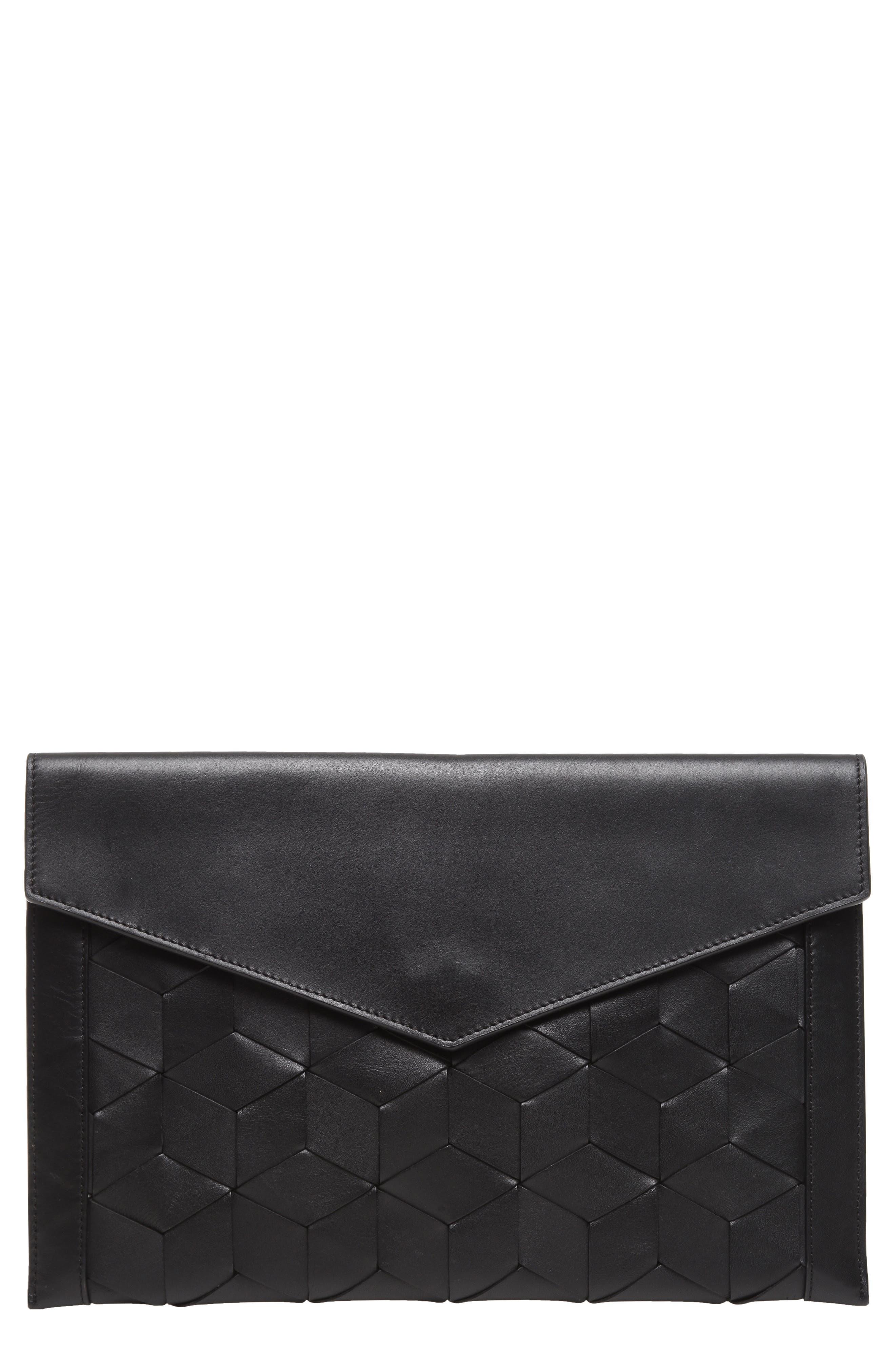 Mingle Woven Calfskin Leather Clutch,                             Main thumbnail 1, color,                             BLACK