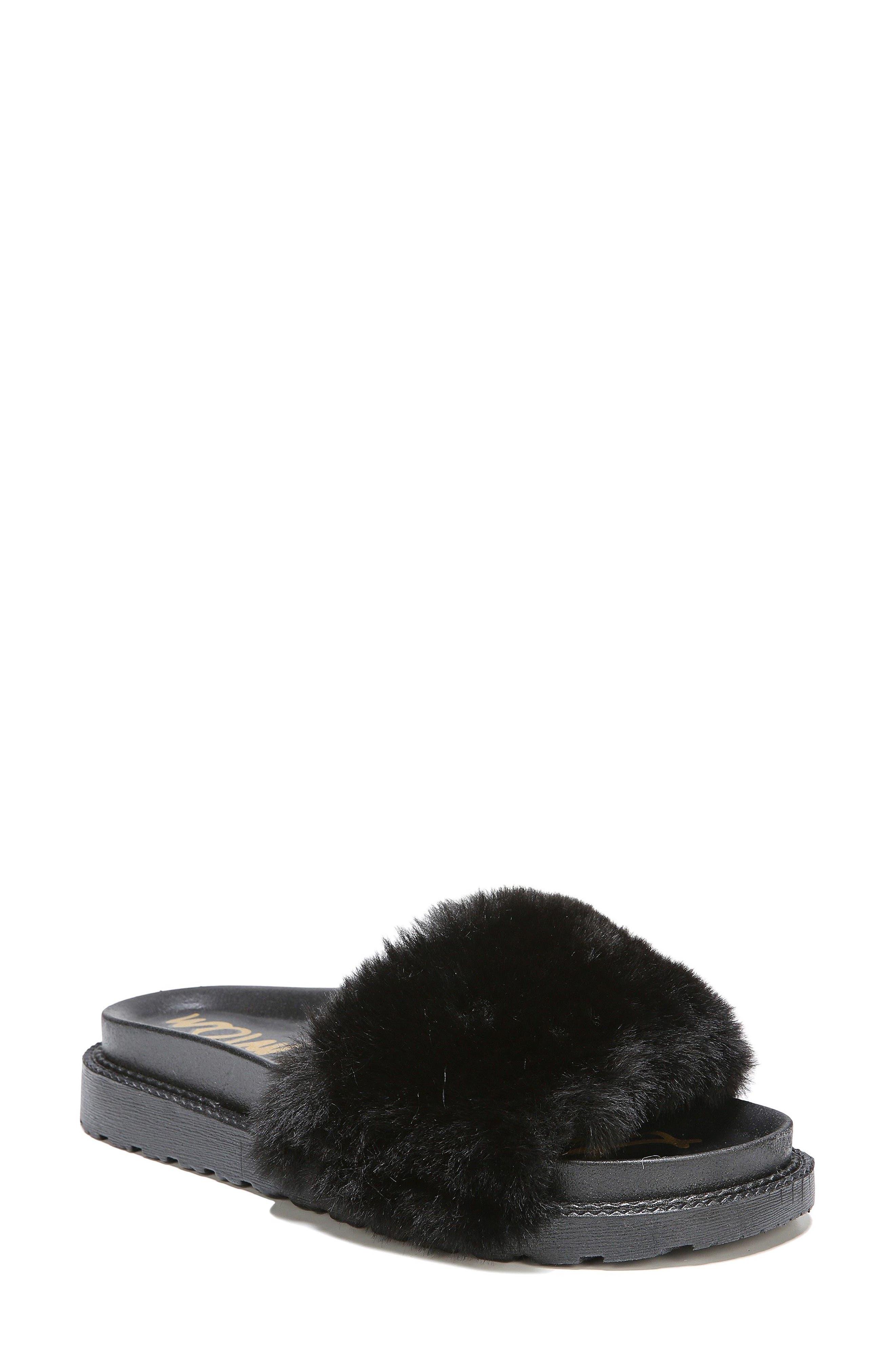 SAM EDELMAN,                             Blaire Faux Fur Platform Slide Sandal,                             Main thumbnail 1, color,                             001