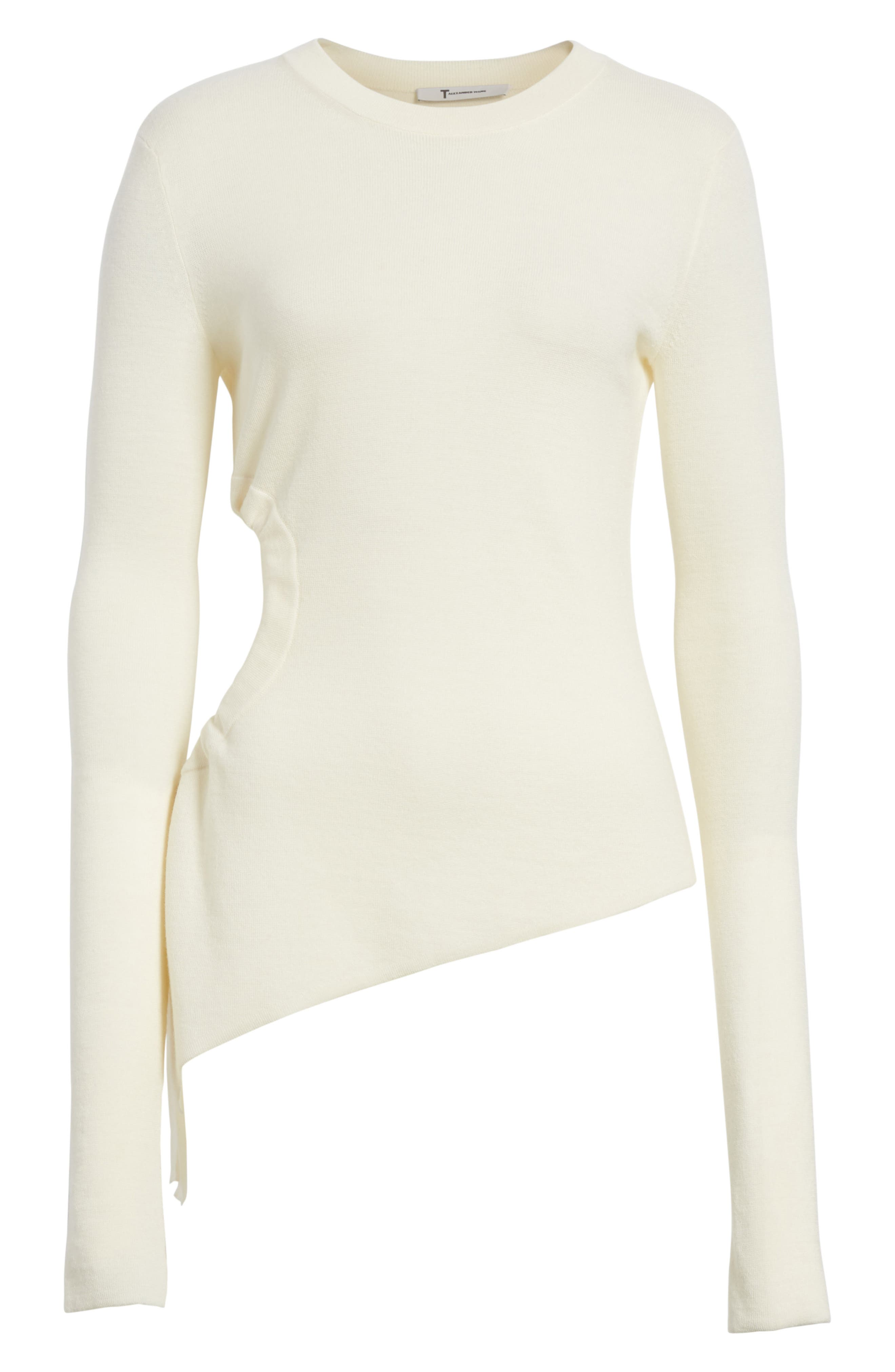 T by Alexander Wang Ruched Cutout Merino Wool Sweater,                             Alternate thumbnail 6, color,                             906