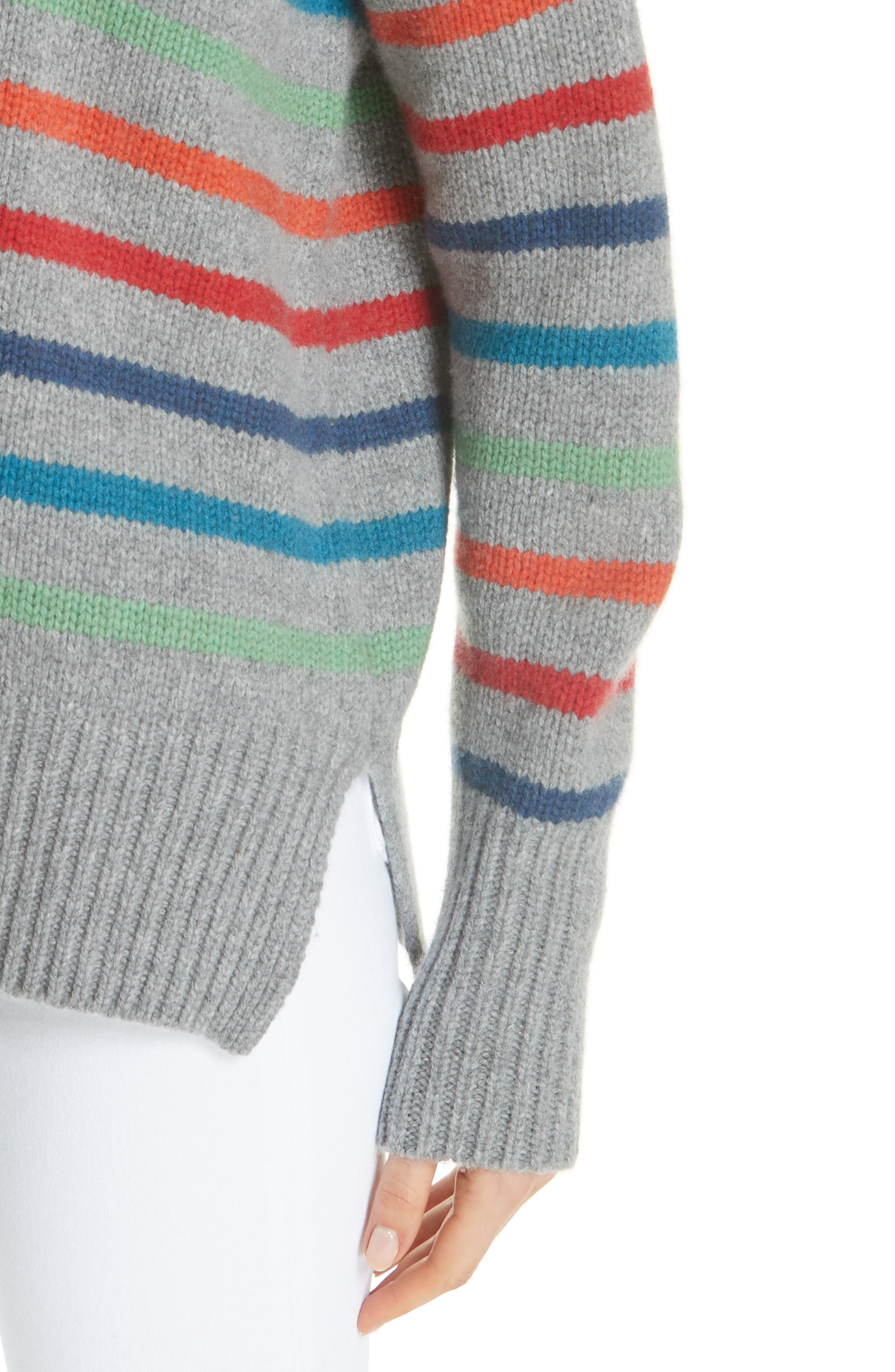 Marin Wool & Cashmere Sweater,                             Alternate thumbnail 4, color,                             RAINBOW STRIPE