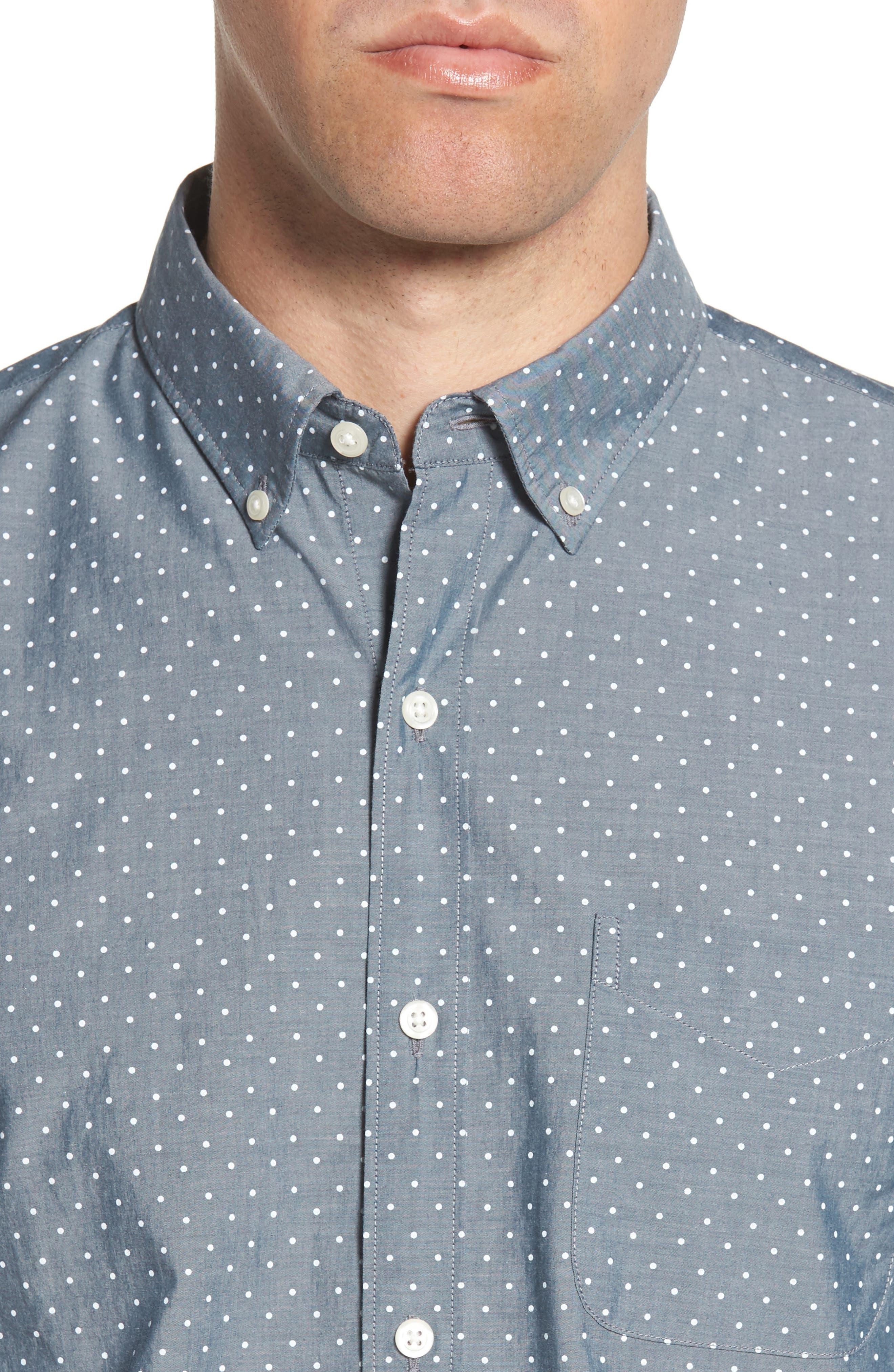 Summerweight Slim Fit Dot Sport Shirt,                             Alternate thumbnail 4, color,