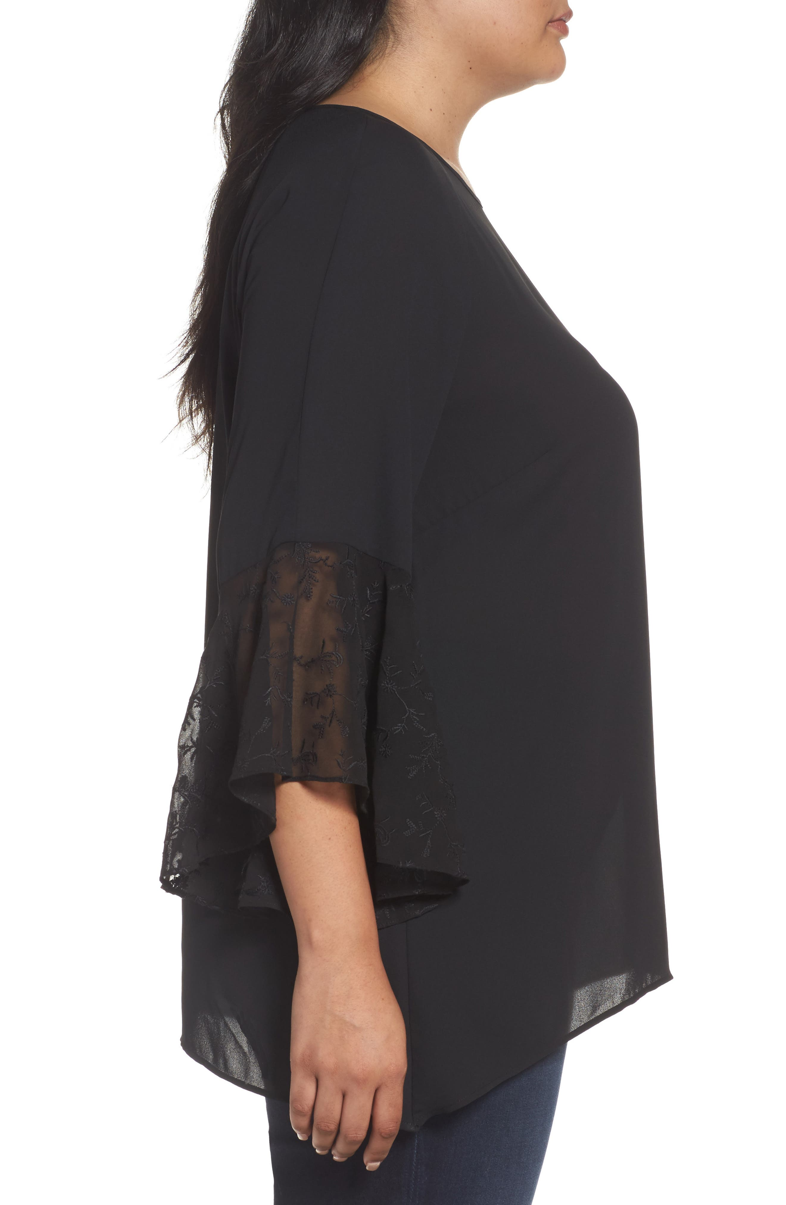 Embroidered Bell Sleeve Blouse,                             Alternate thumbnail 3, color,                             001