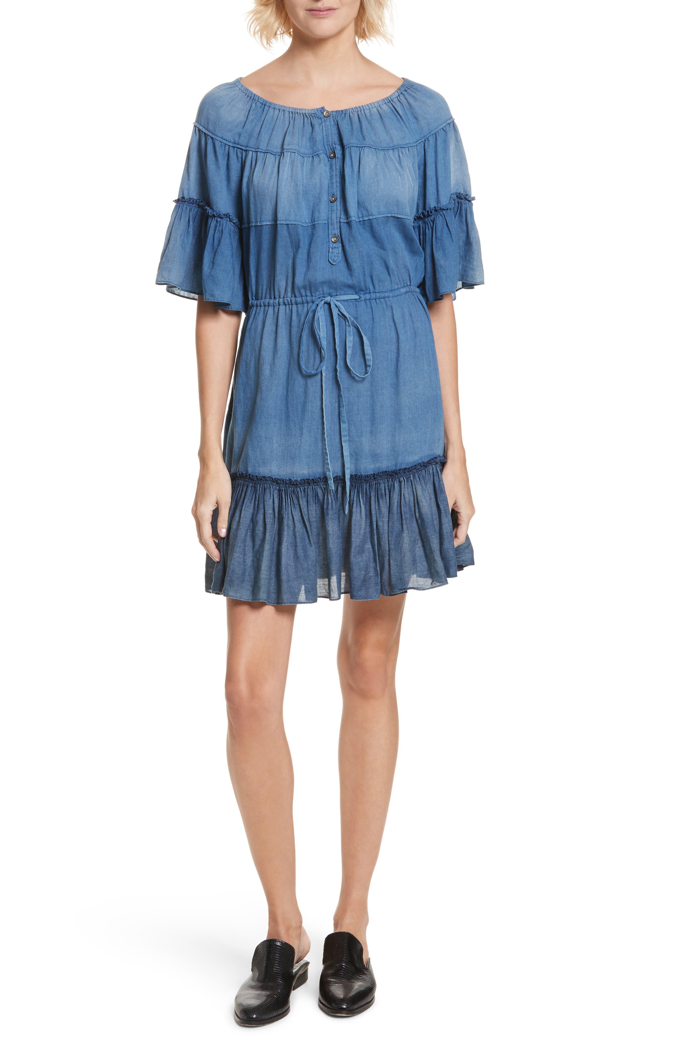 Ruffle Tissue Denim Dress,                             Main thumbnail 1, color,                             453