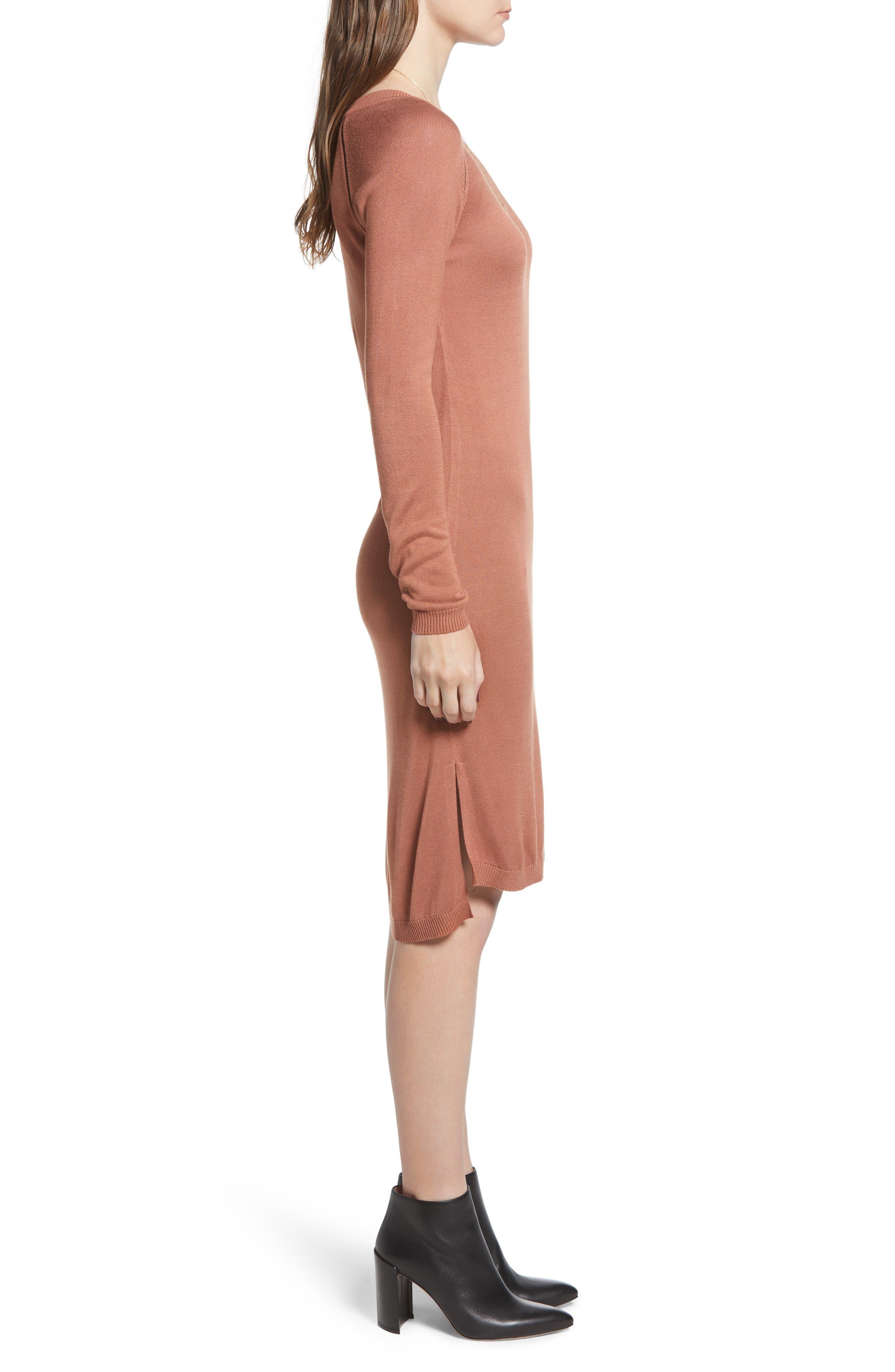 Ladder Inset Sweater Dress,                             Alternate thumbnail 3, color,                             VINTAGE ROSE