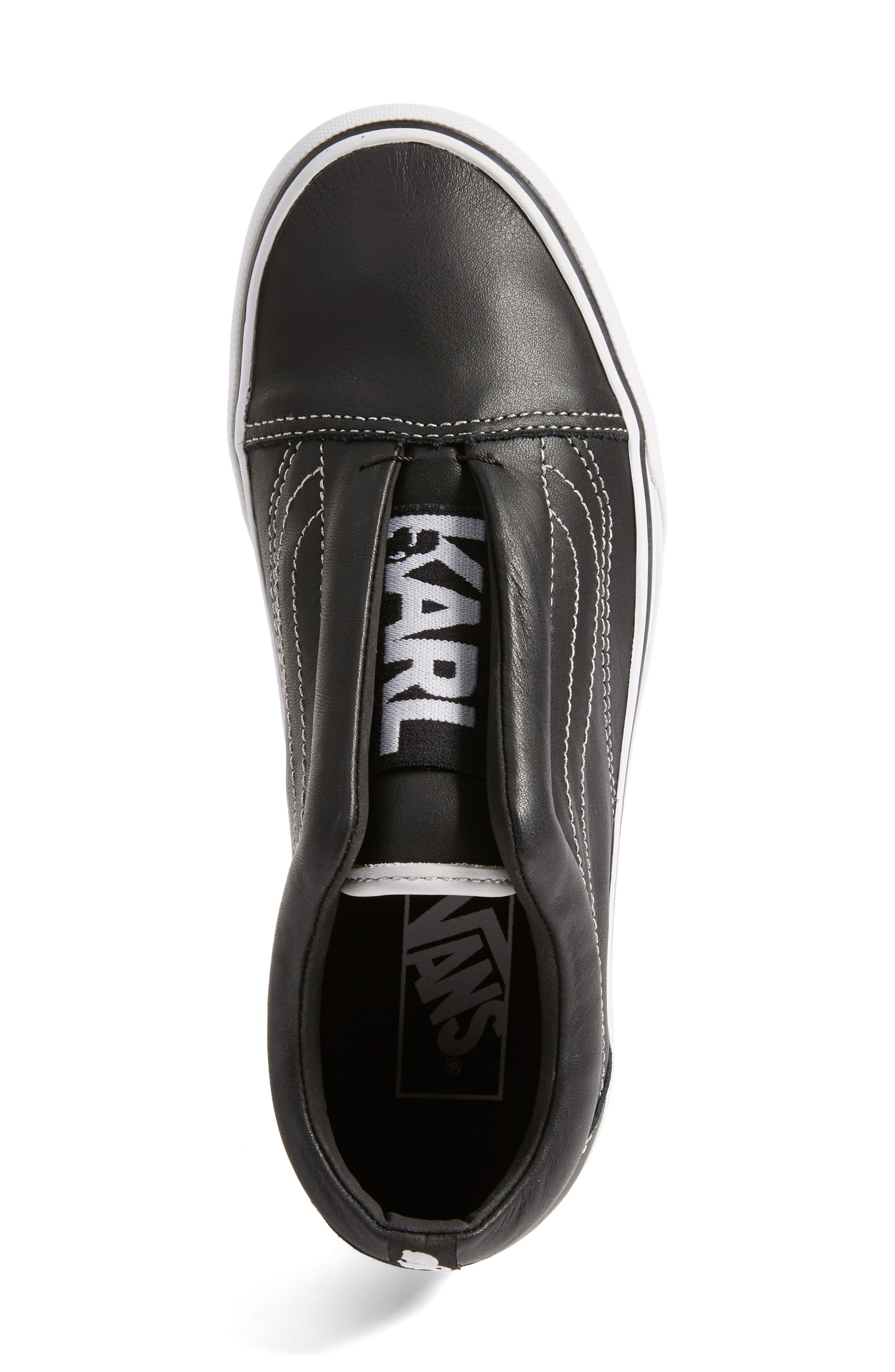 VANS,                             x KARL LAGERFELD Old Skool Leather Platform Sneaker,                             Alternate thumbnail 5, color,                             001