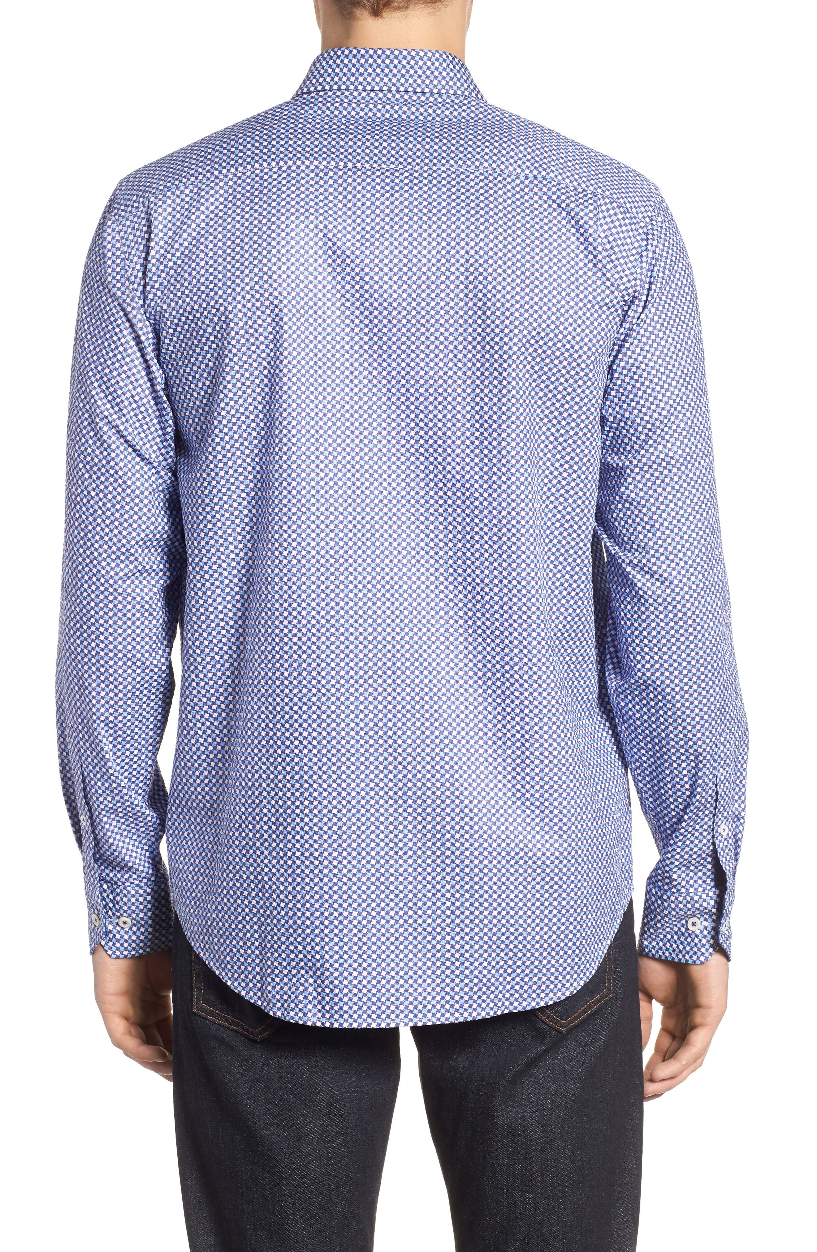 Classic Fit Print Seersucker Sport Shirt,                             Alternate thumbnail 2, color,                             CLASSIC BLUE