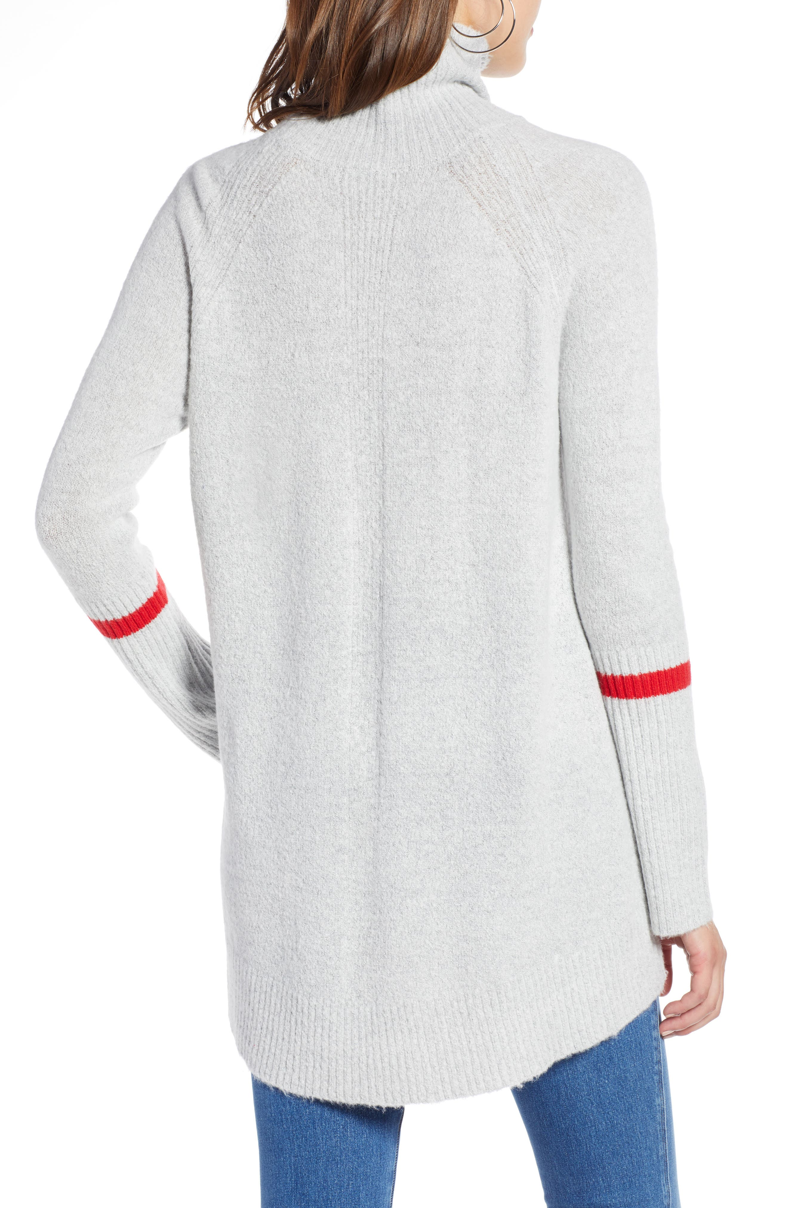 High Low Oversize Wool Blend Sweater,                             Alternate thumbnail 2, color,                             GREY HEATHER- RED