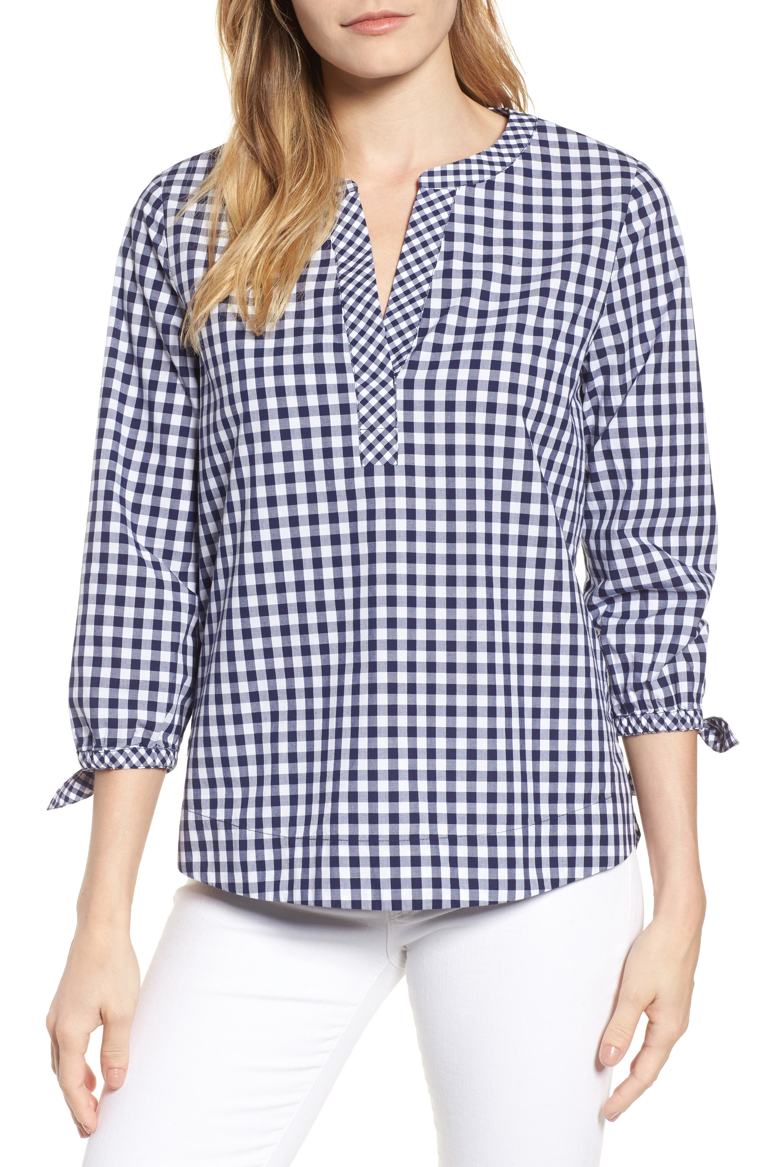 Mixed Gingham Tie Sleeve Top,                             Main thumbnail 1, color,                             476