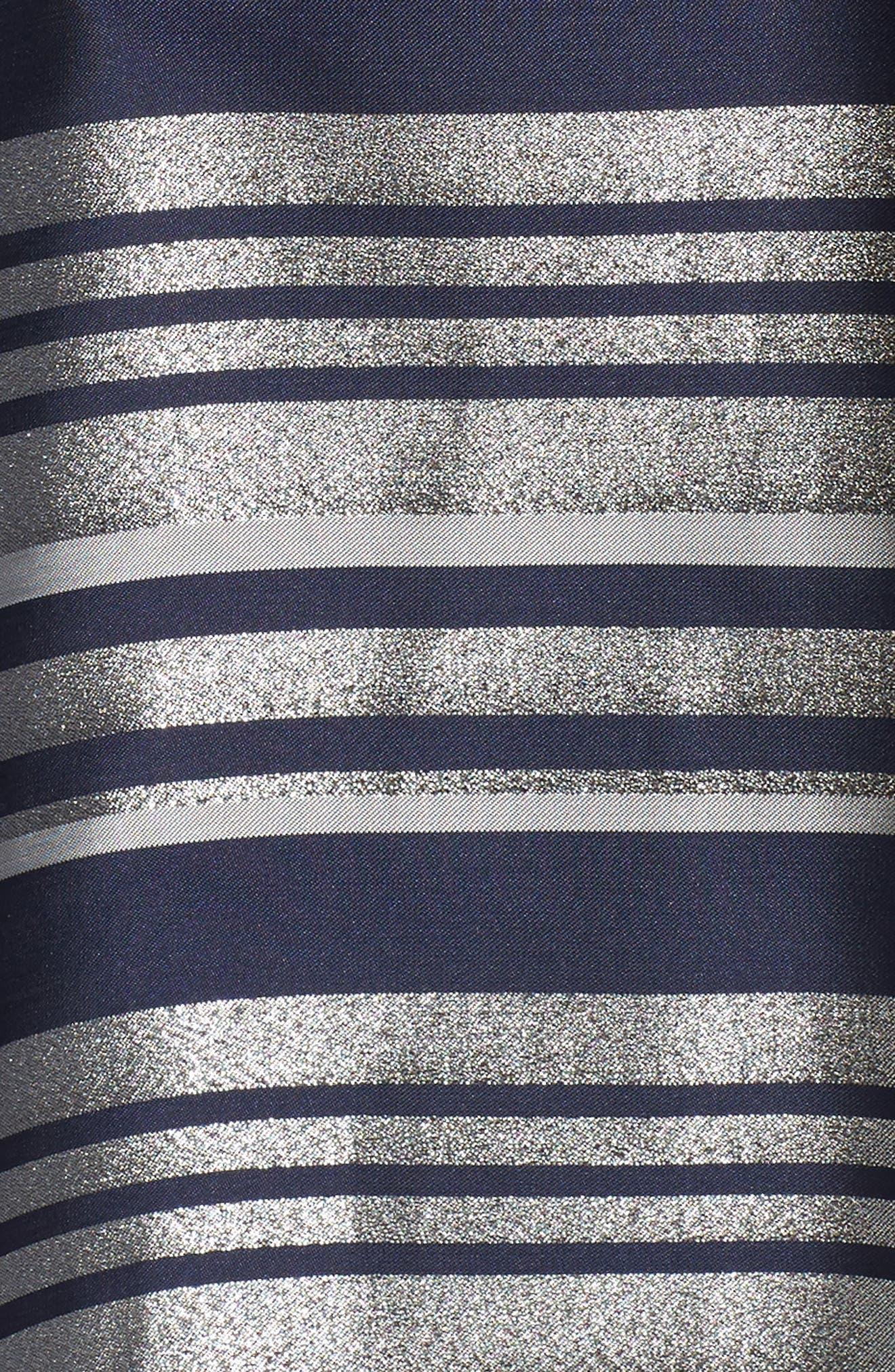 Mixed Media Tie Waist Party Dress,                             Alternate thumbnail 5, color,                             042