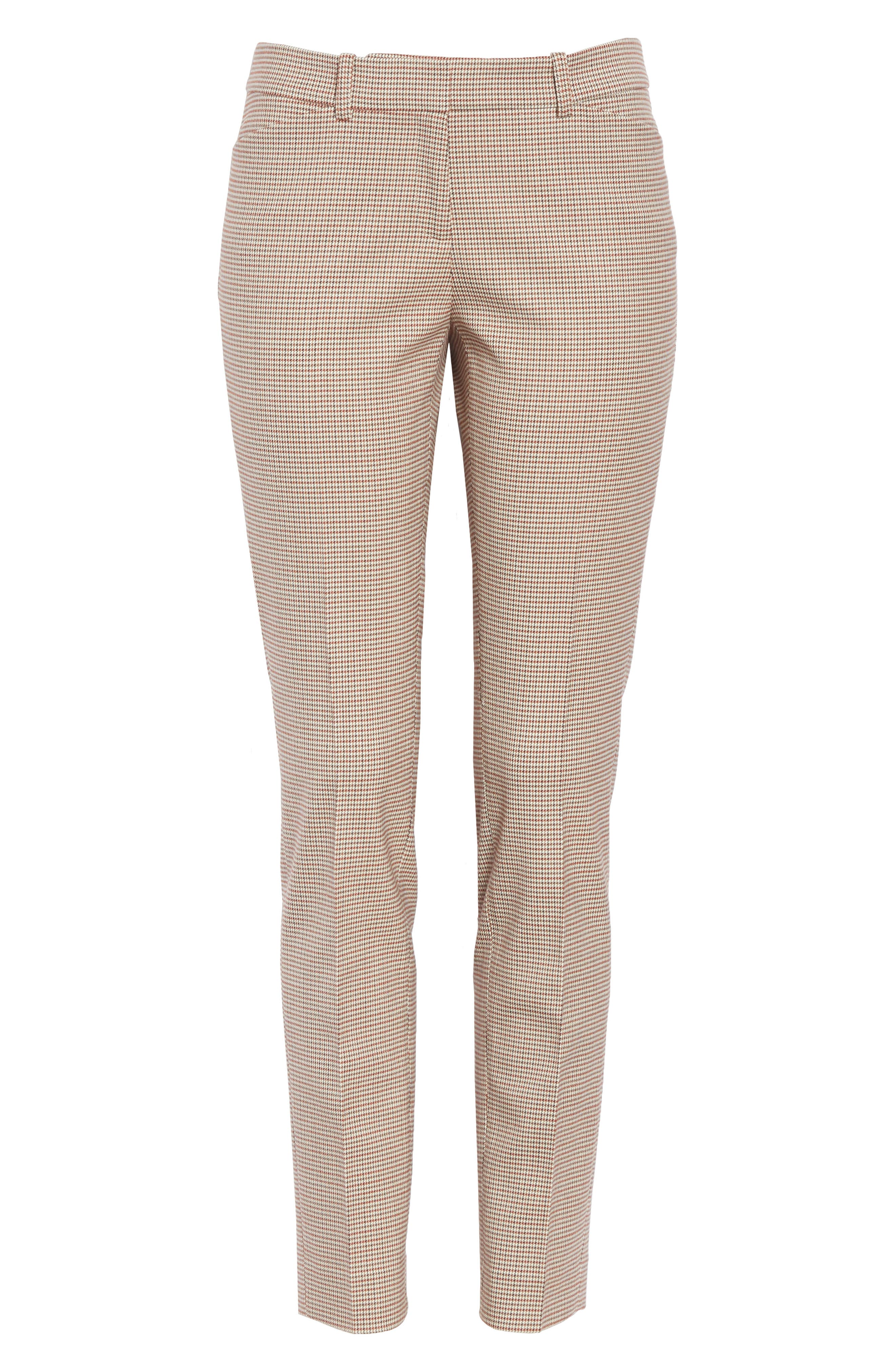 Manhattan Houndstooth Wool Blend Skinny Pants,                             Alternate thumbnail 6, color,                             SAFFRON MULTI