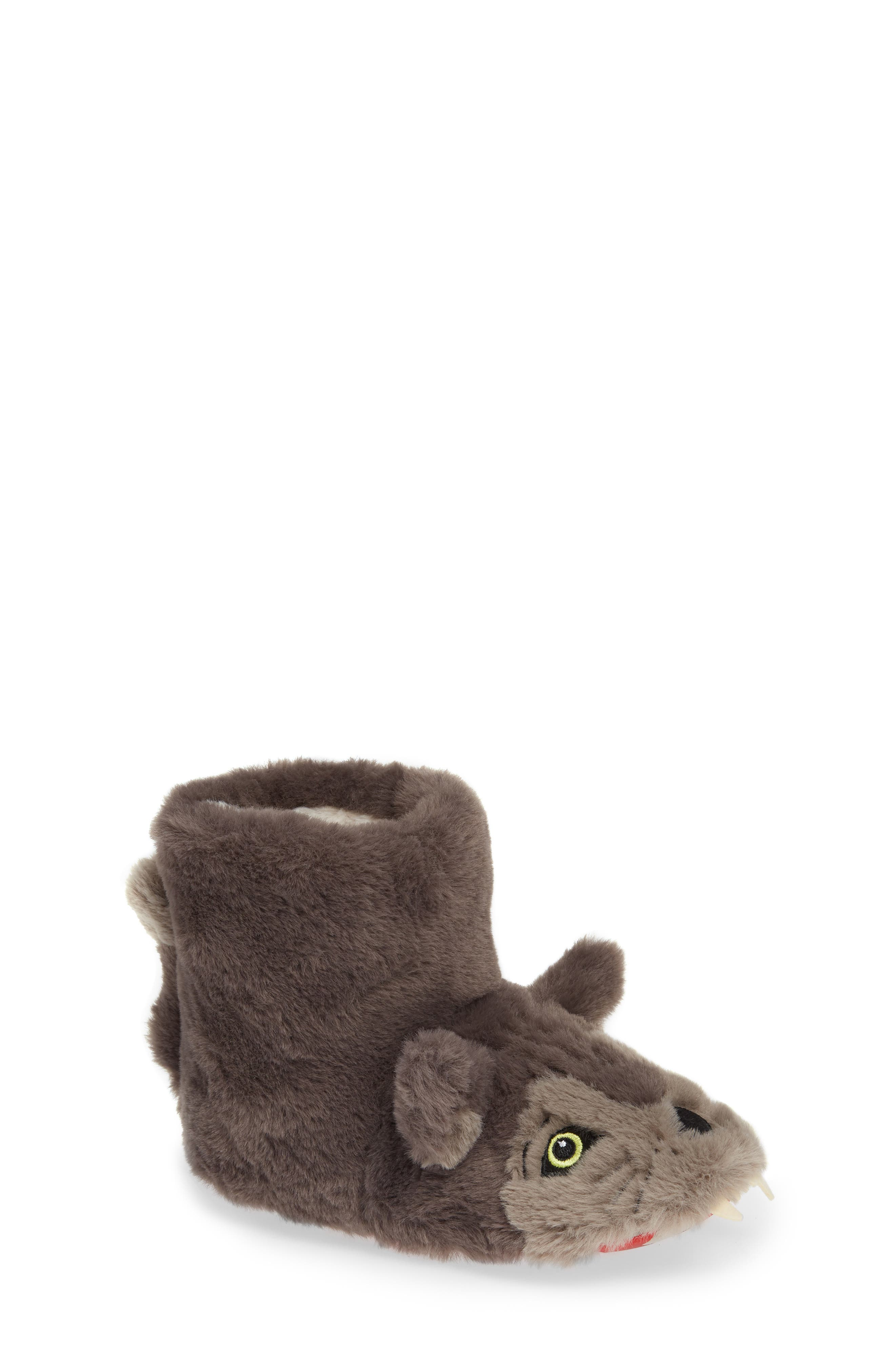 Mini Boden Wolf Faux Fur Slipper Booties,                             Main thumbnail 1, color,                             MID GREY