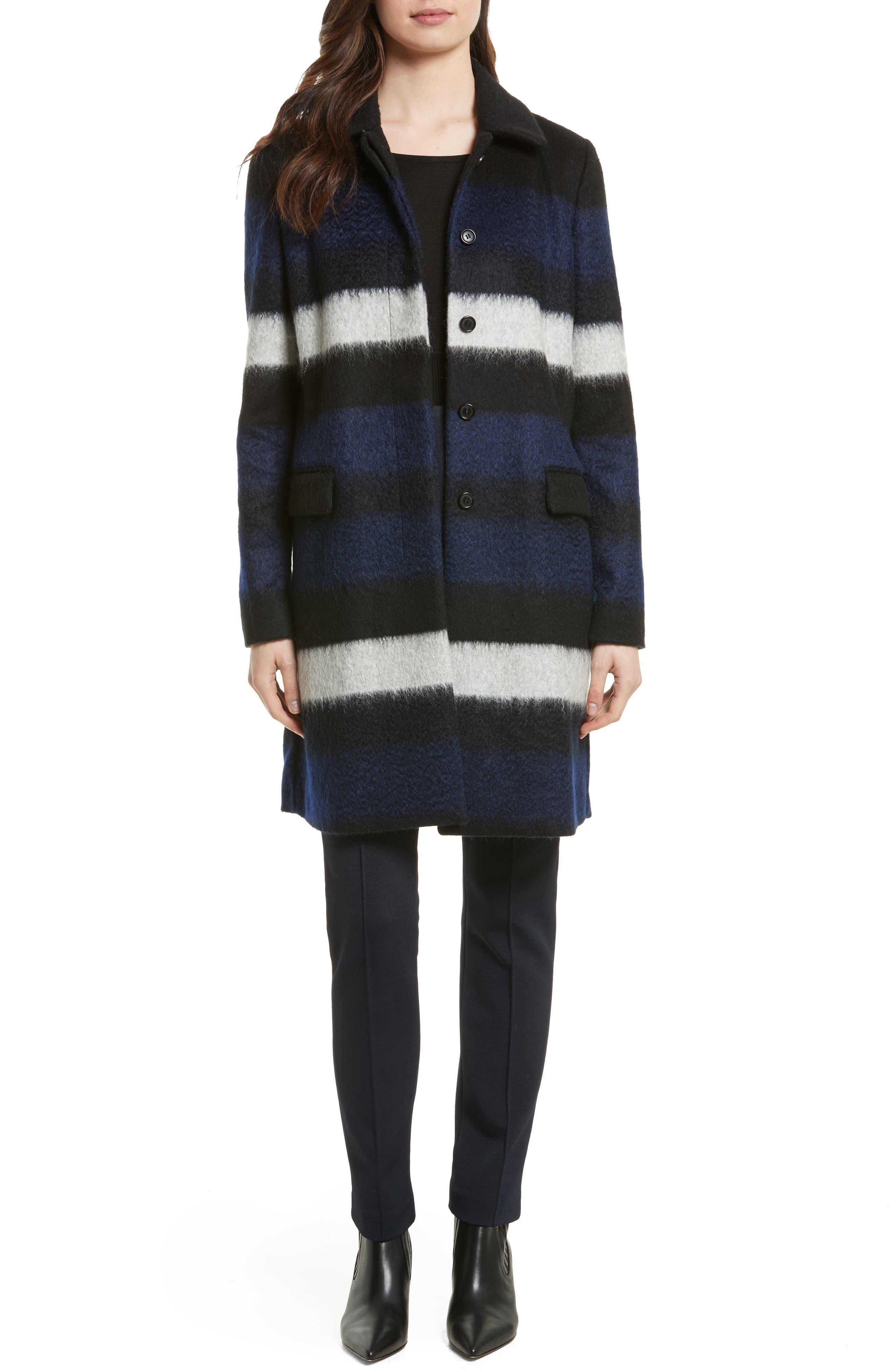 DIANE VON FURSTENBERG,                             Stripe Wool Blend Coat,                             Alternate thumbnail 6, color,                             005