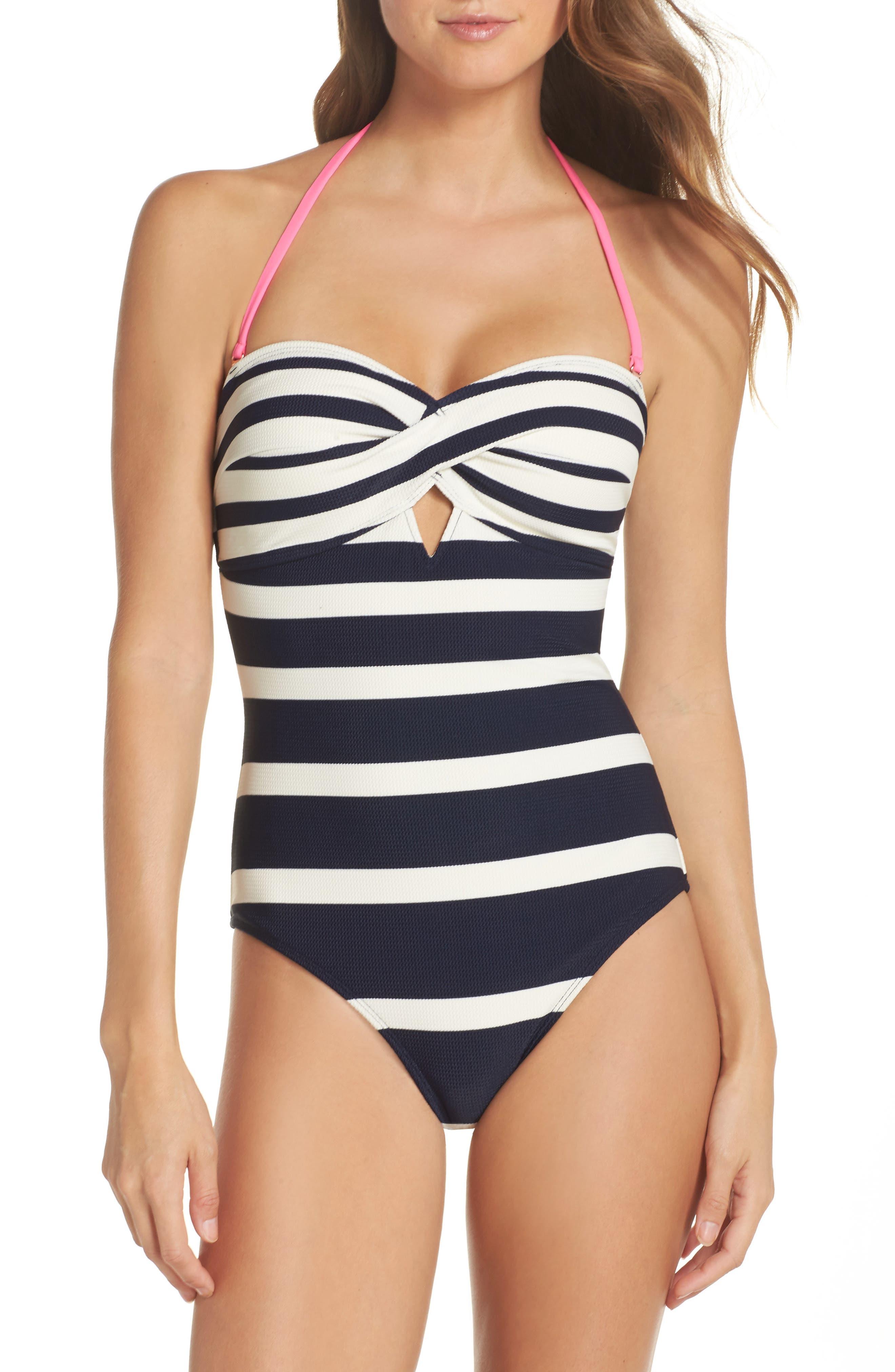 Texture Stripe One-Piece Bandeau Swimsuit,                             Alternate thumbnail 4, color,                             410