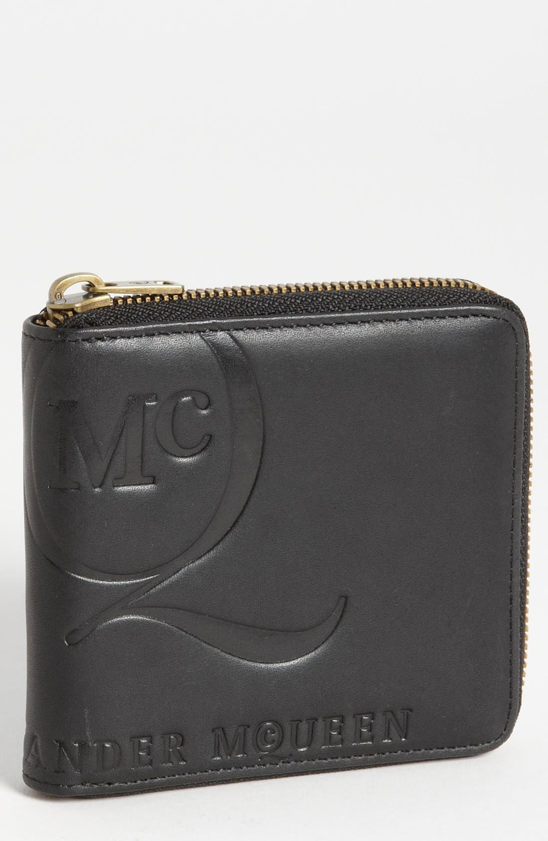 McQ by Alexander McQueen 'Aztec' Embossed Zip Around Wallet,                         Main,                         color, 001