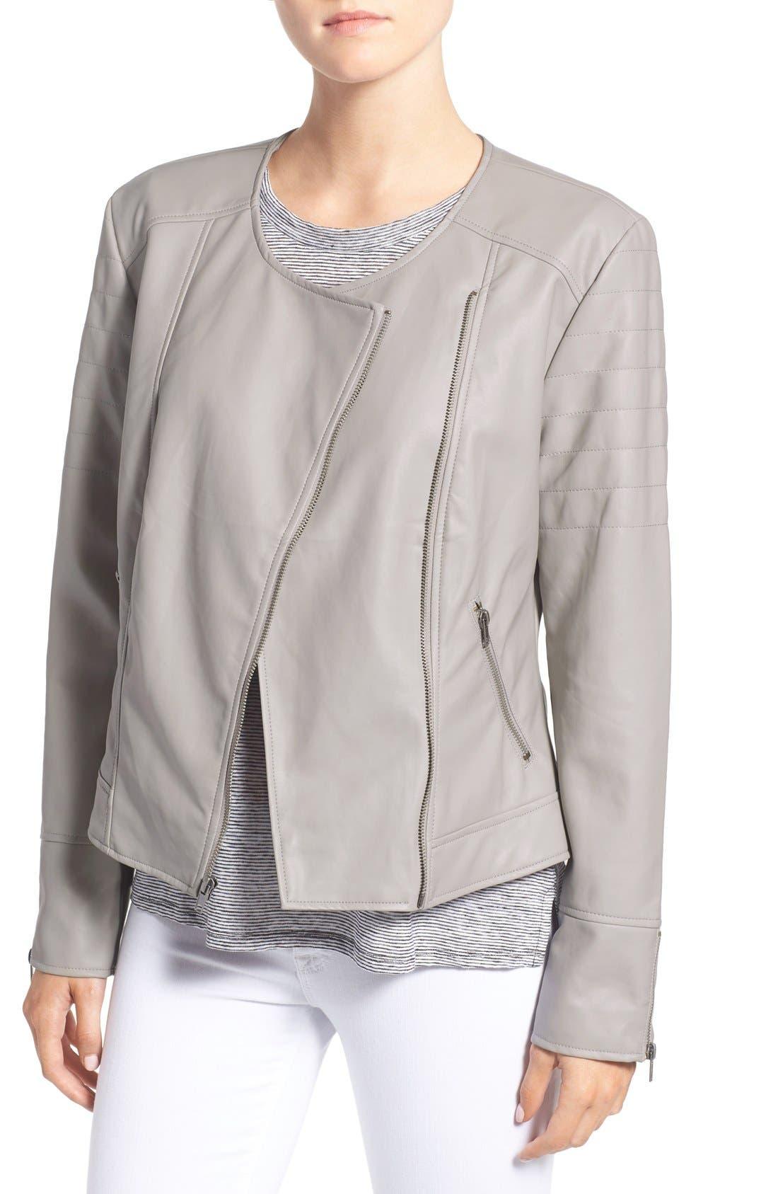 'Kadence' Faux Leather Asymmetrical Moto Jacket,                         Main,                         color,