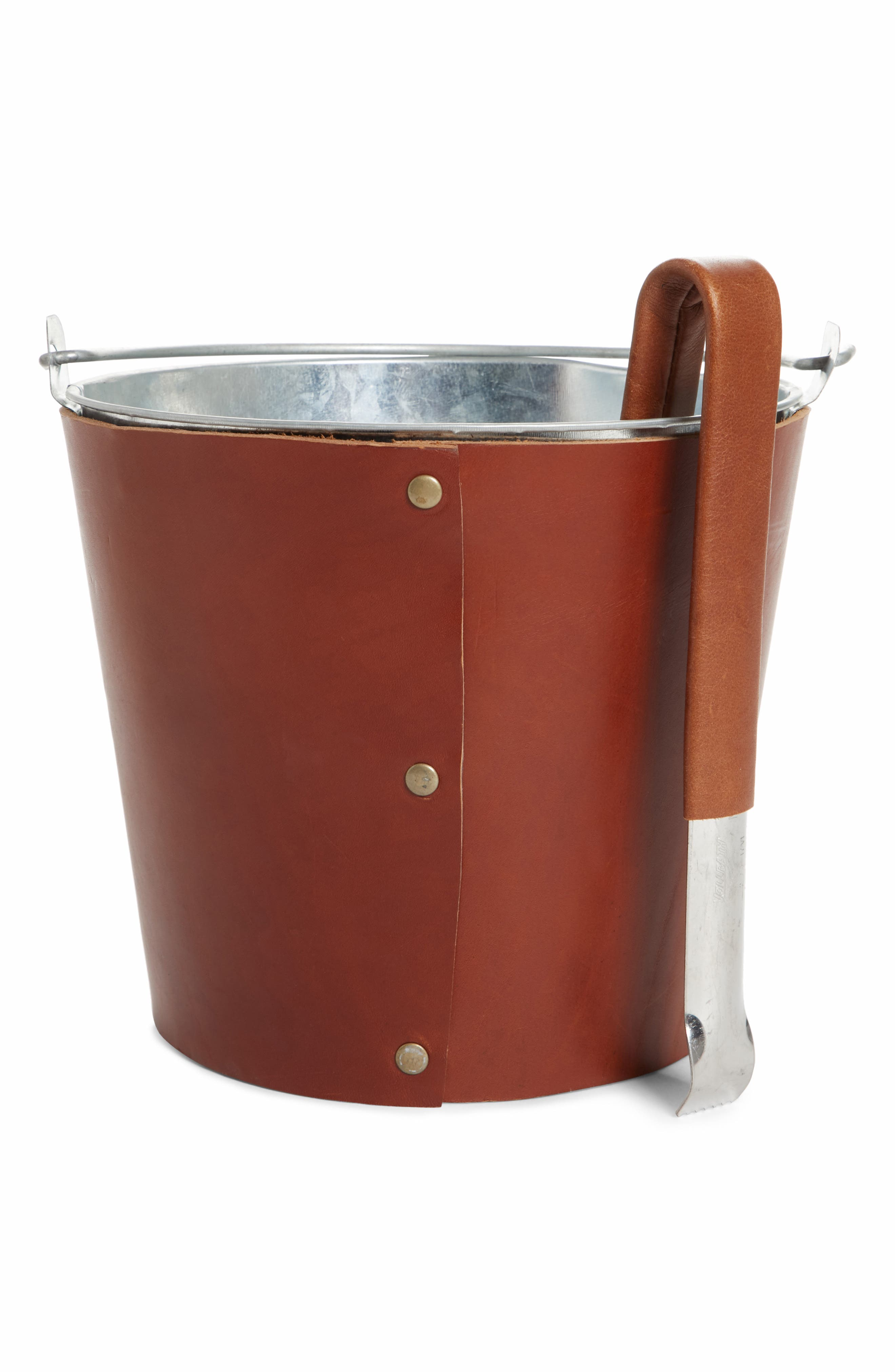 Leather Ice Bucket & Tongs,                             Main thumbnail 1, color,                             210