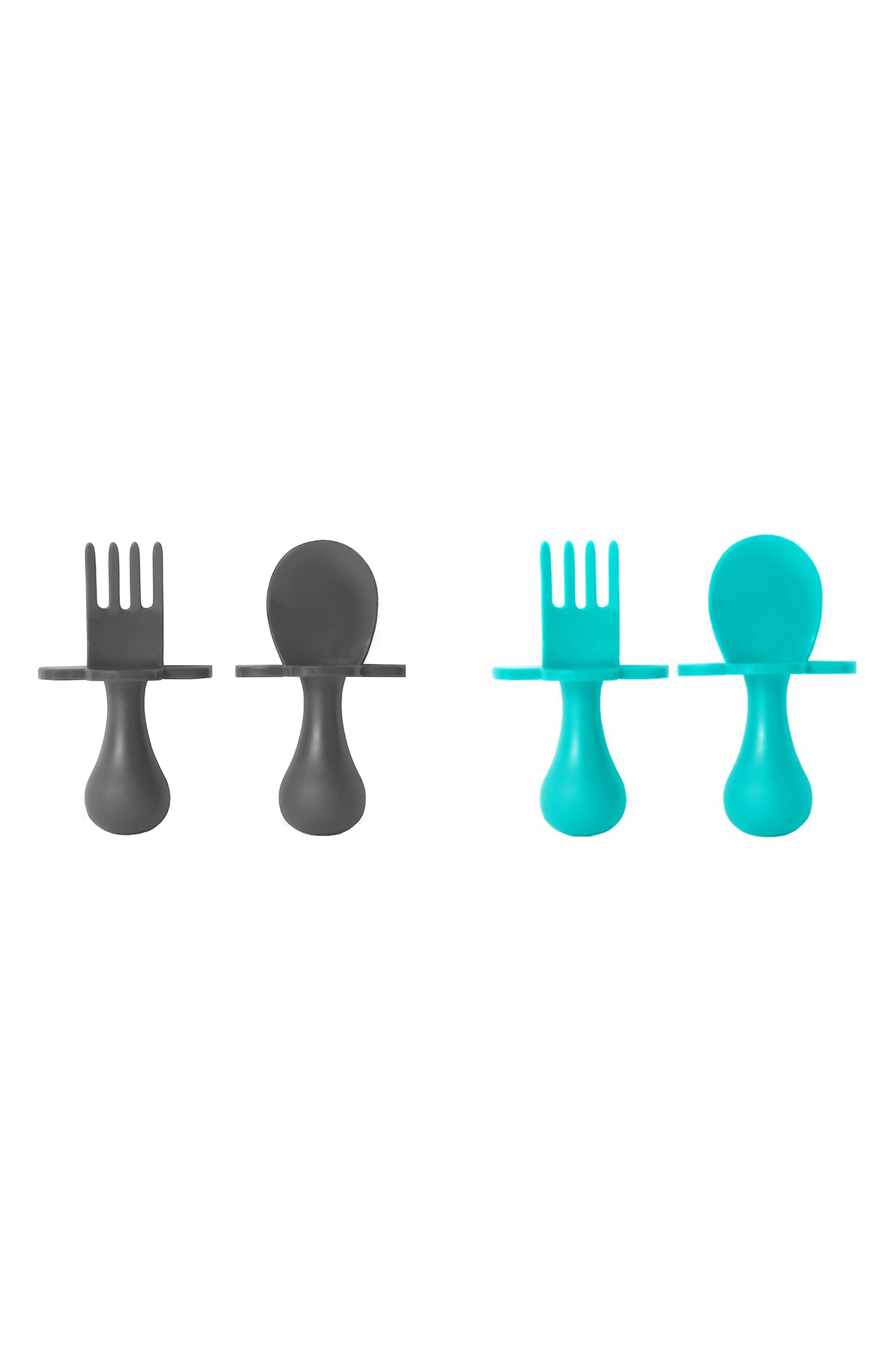 2-Pack Self Feeding Fork & Spoon Set, Main, color, GRAY/ TEAL