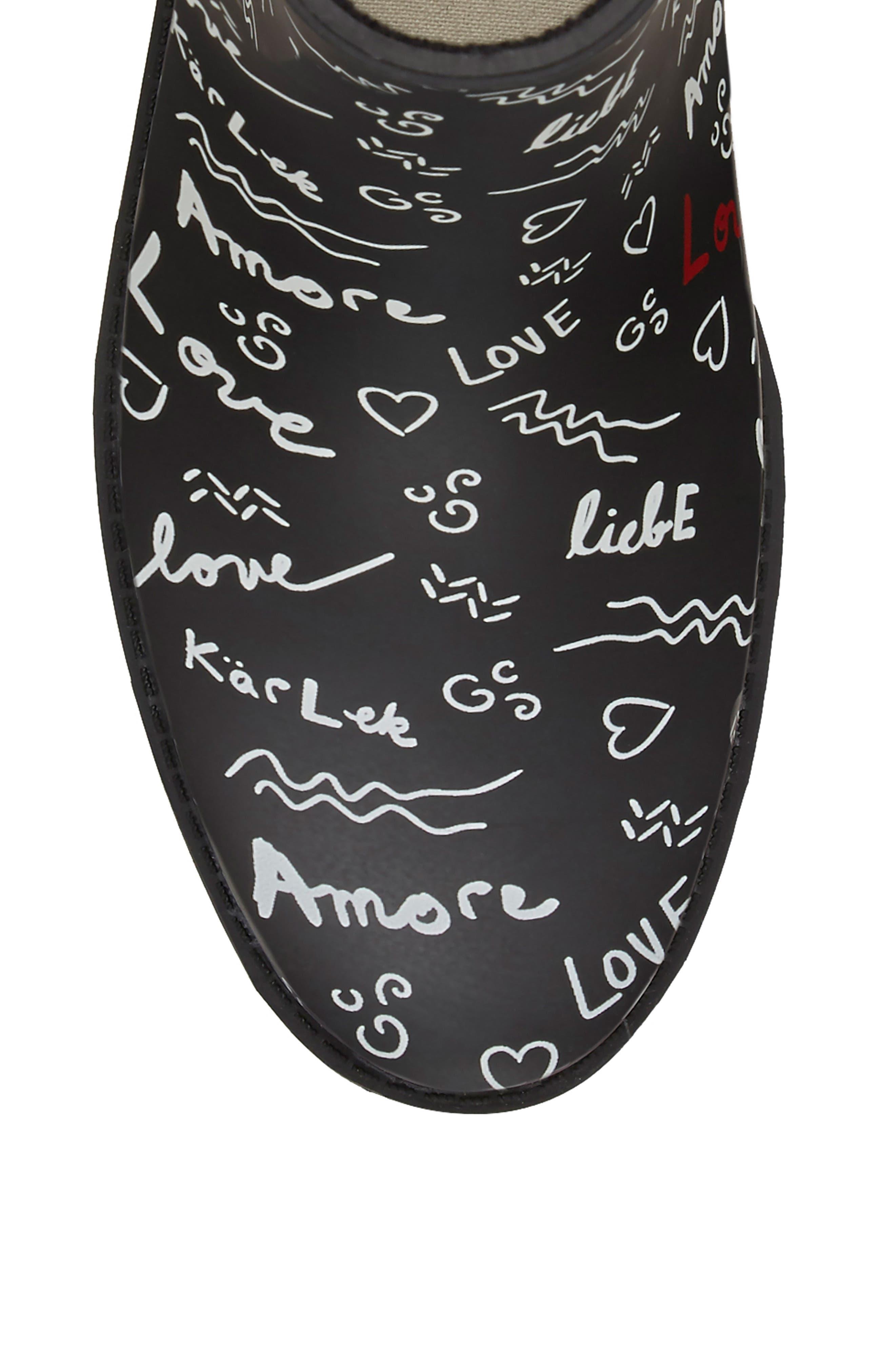 Wallita Rain Boot,                             Alternate thumbnail 7, color,                             BLACK/ WHITE MATTE RUBBER